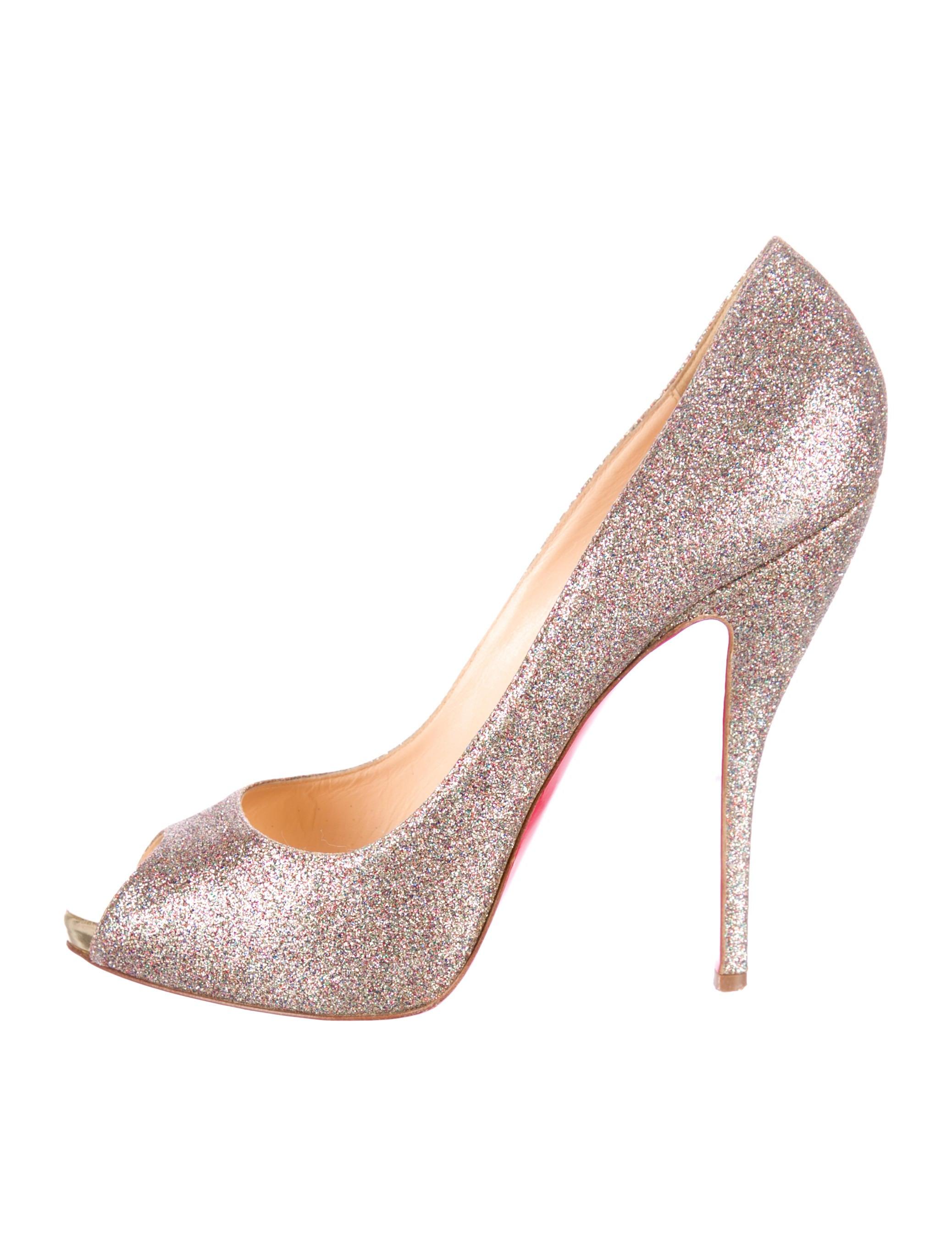 dc30522a6ba Artesur » christian louboutin leather peep-toe pumps Gold and ...