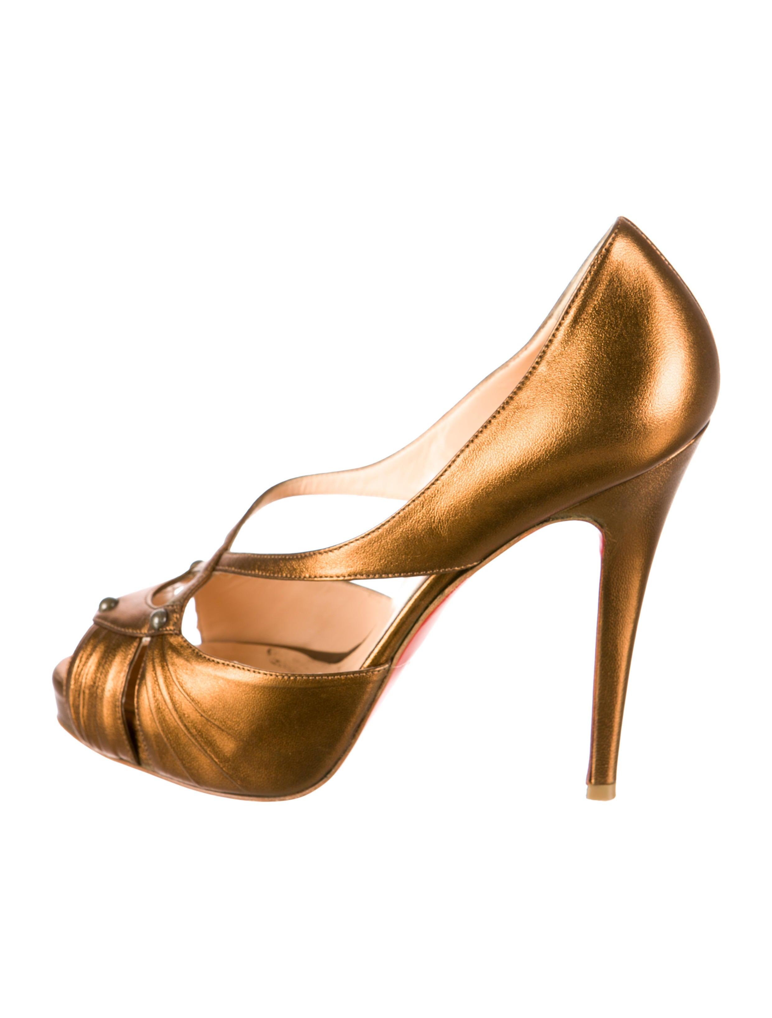 louboutin.com shoes - christian louboutin Scissor Girl peep-toe pumps Copper metallic ...