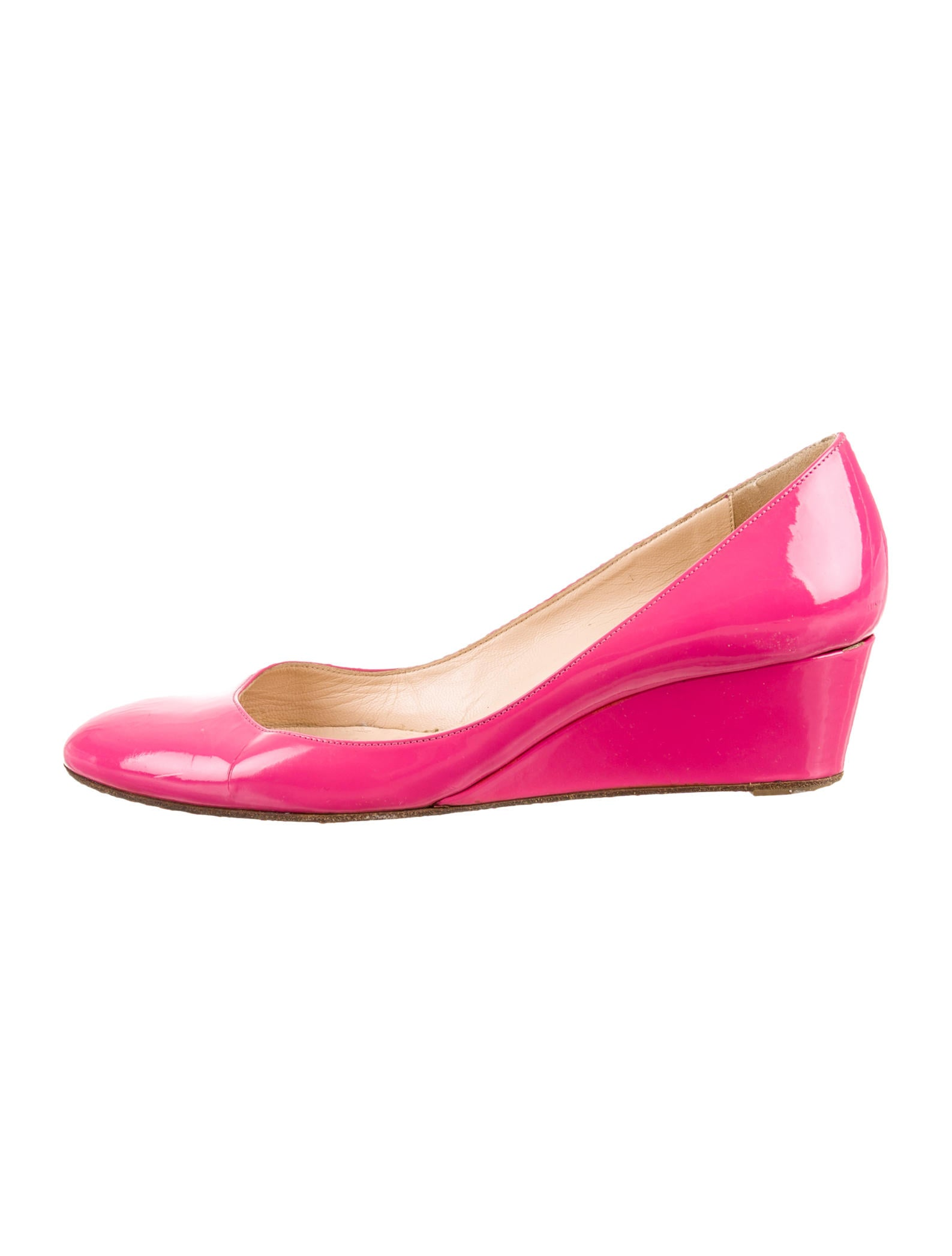 christian louboutin round-toe wedges Pink patent leather | The ...