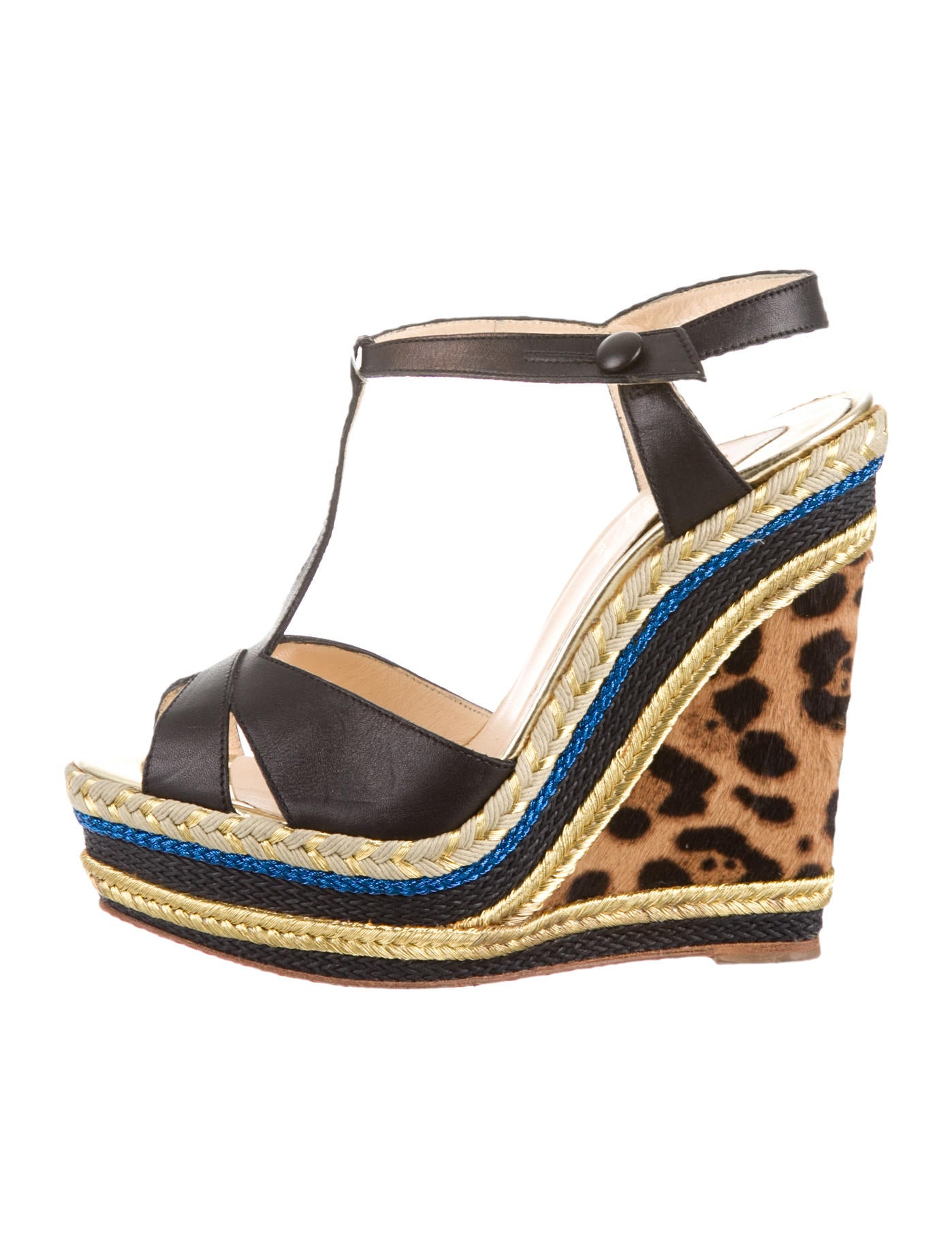 christian louboutin wedge sandals Metallic leather woven detail ...