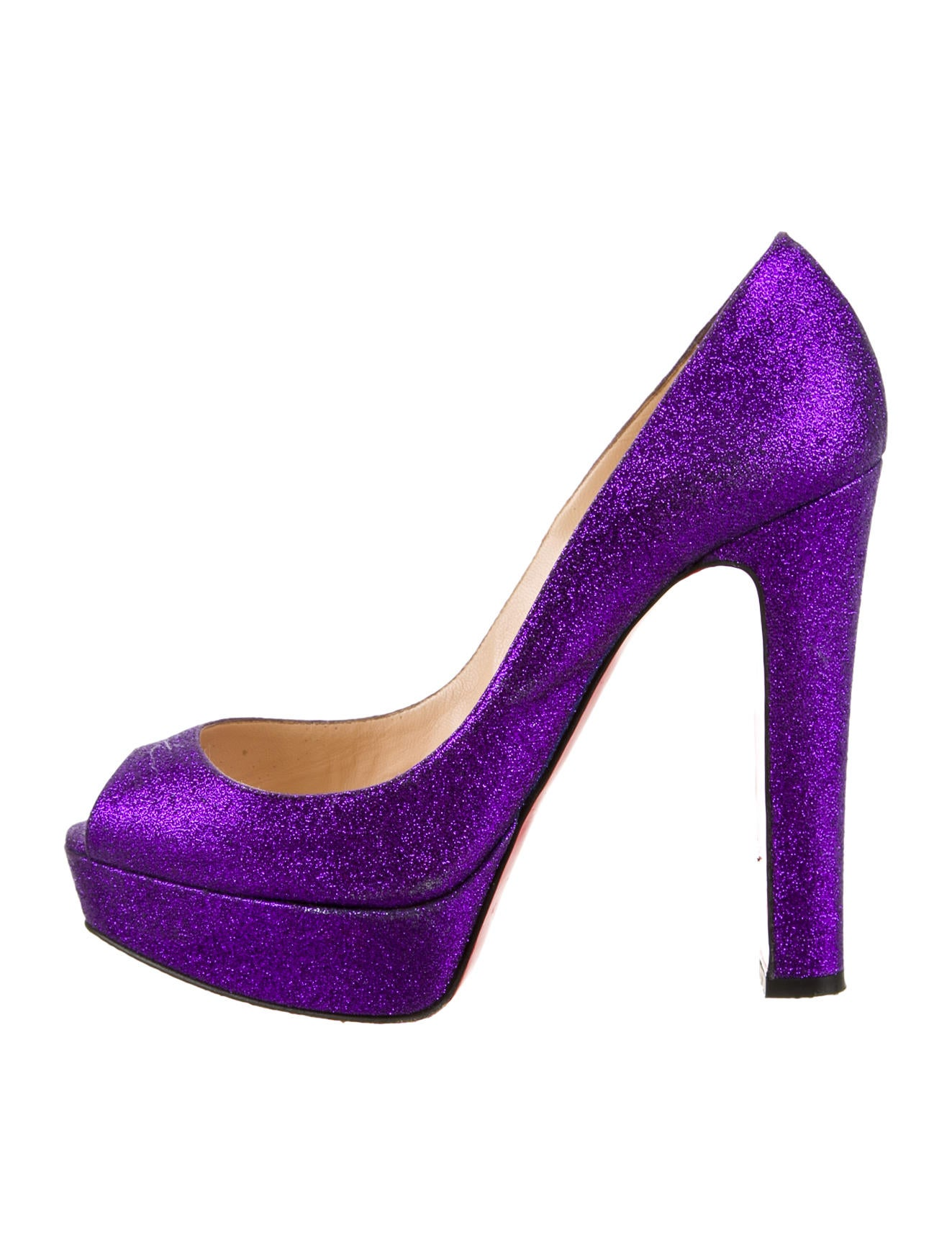 christian louboutin Bambou peep-toe platform glitter pumps Purple woven  covered block heels a5b9c6ebf