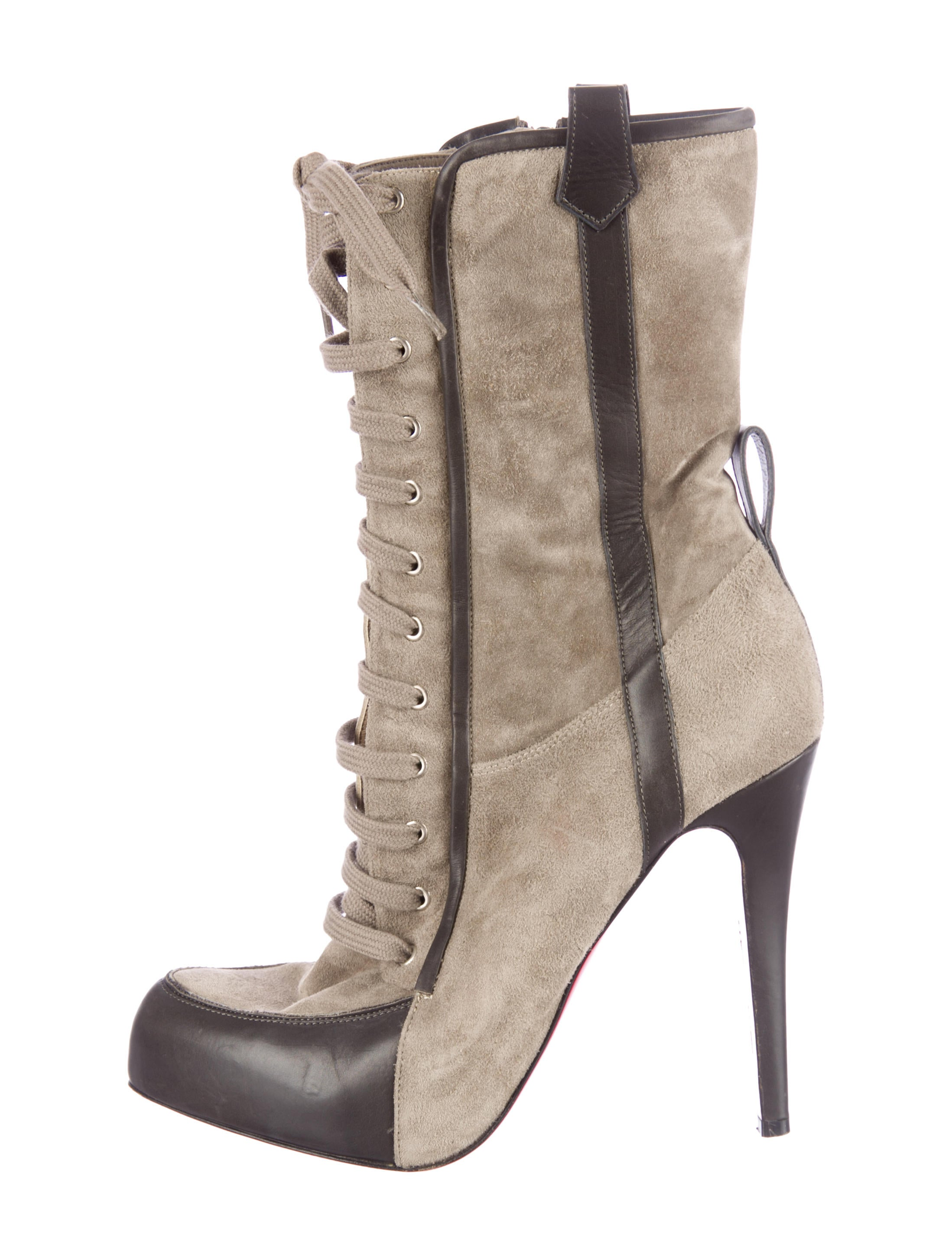 christian louboutin suede ankle boots Grey pointed toes - Bbridges