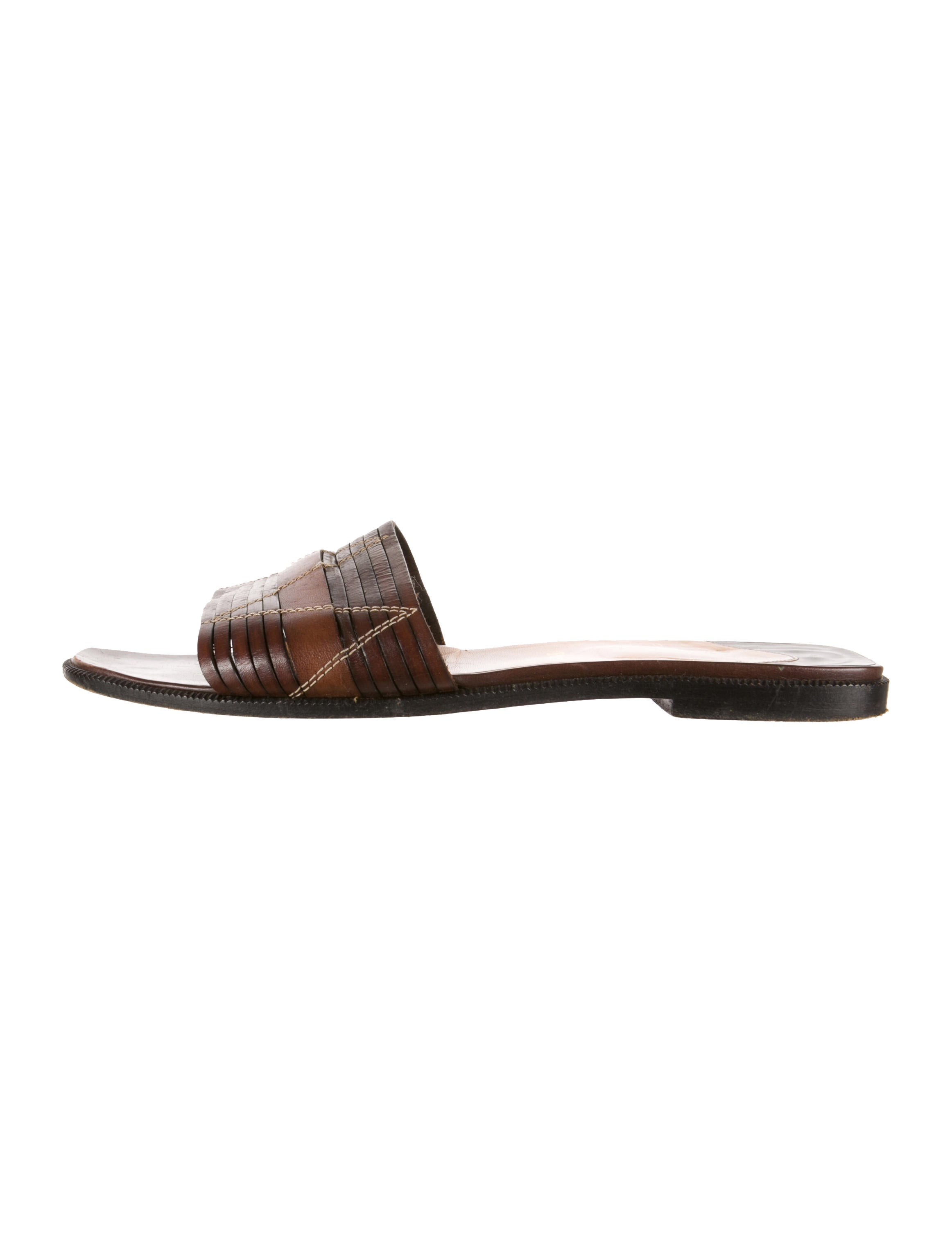 Artesur ? christian louboutin leather slide sandals Dark brown and ...