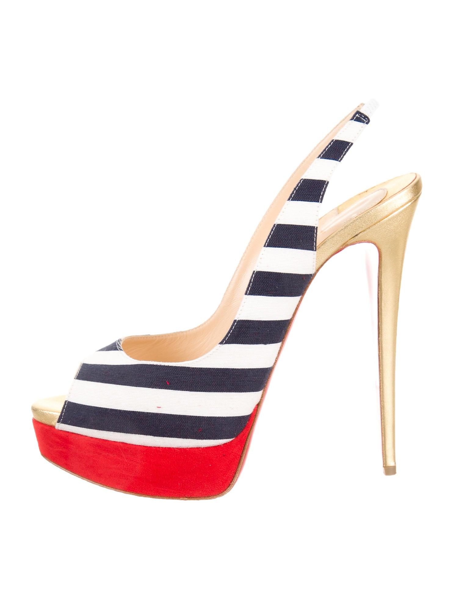 Artesur ? christian louboutin peep-toe slingback pumps Red and ...