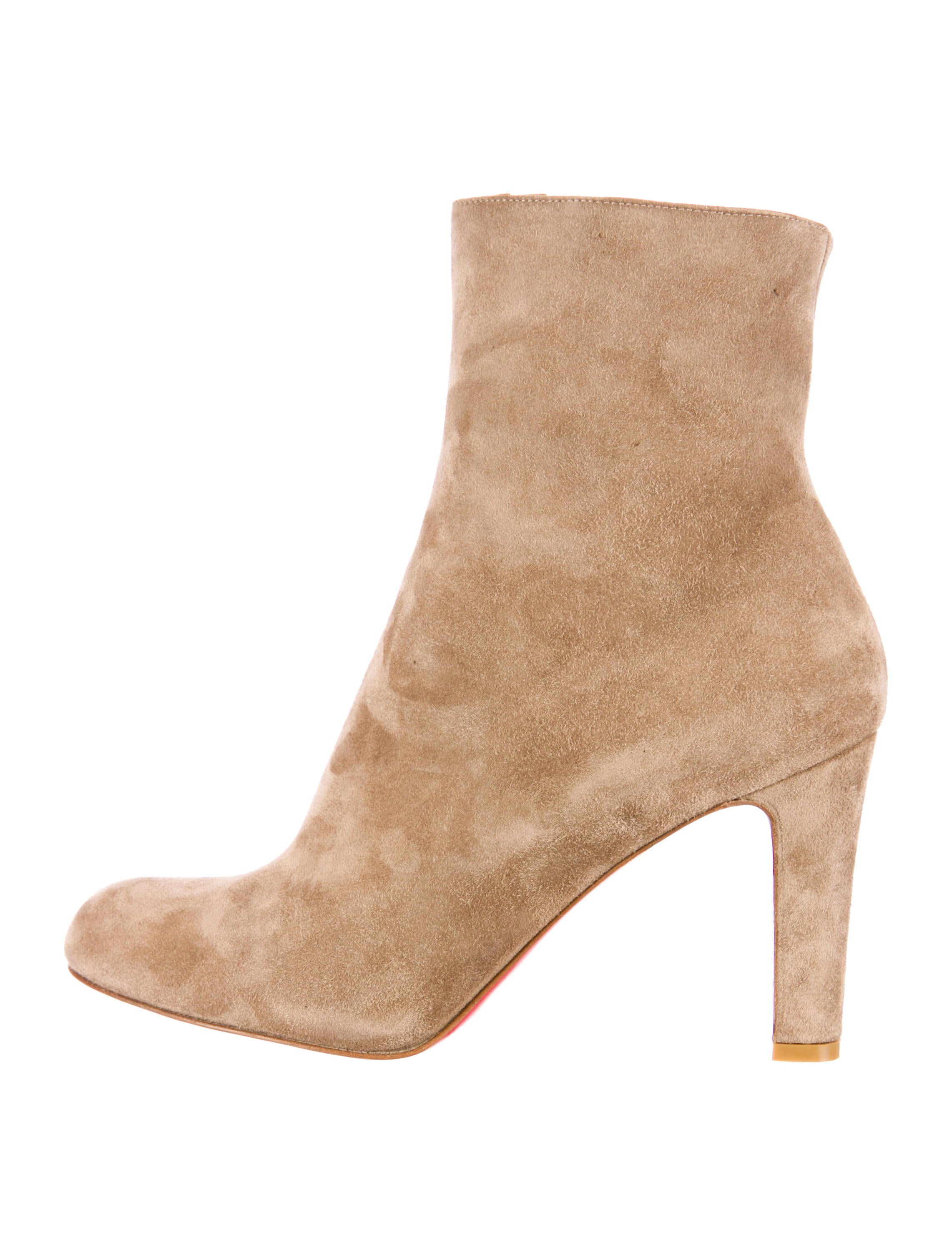 christian louboutin suede boots Brown covered heels | The Little ...