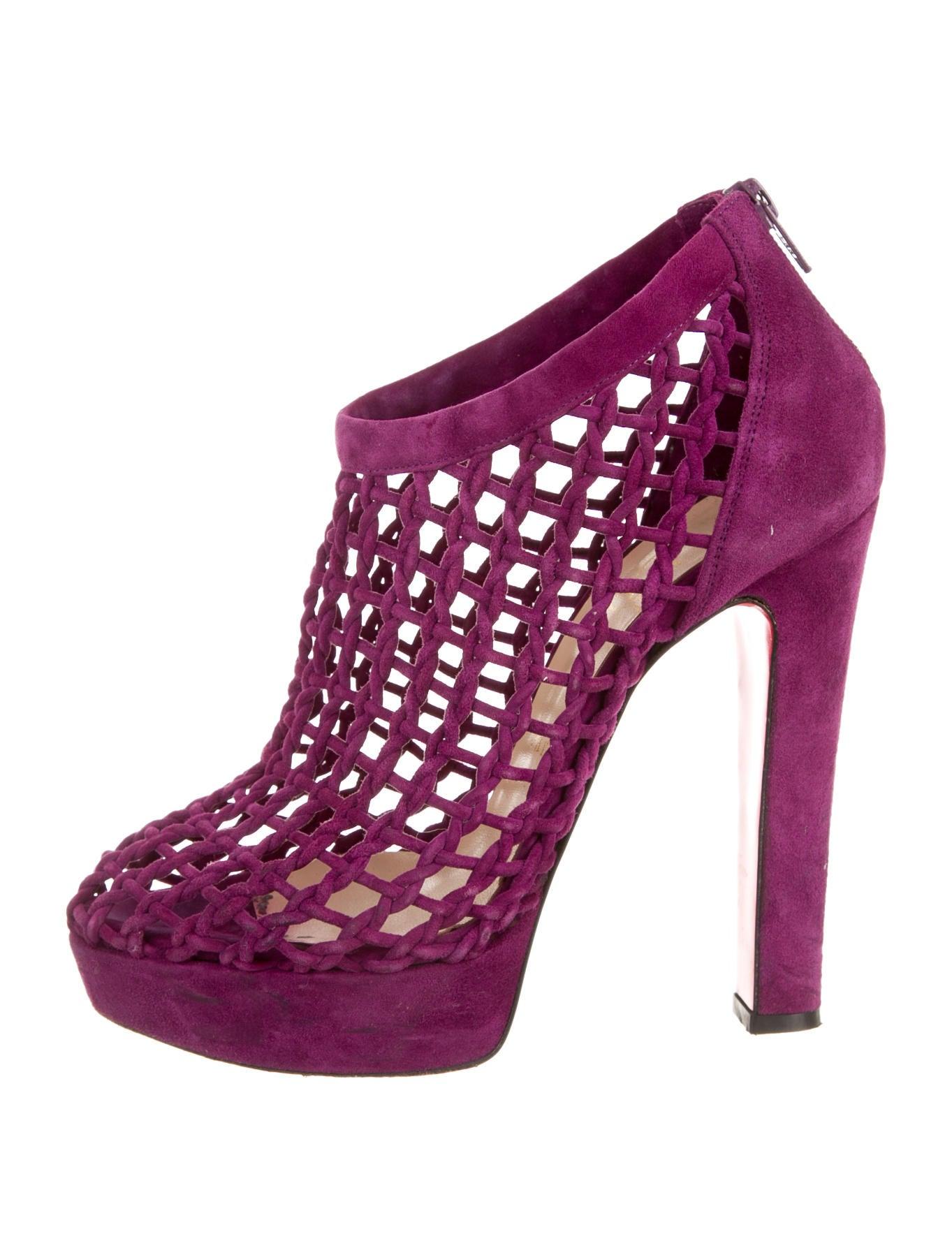 Purple Suede Platform Heels
