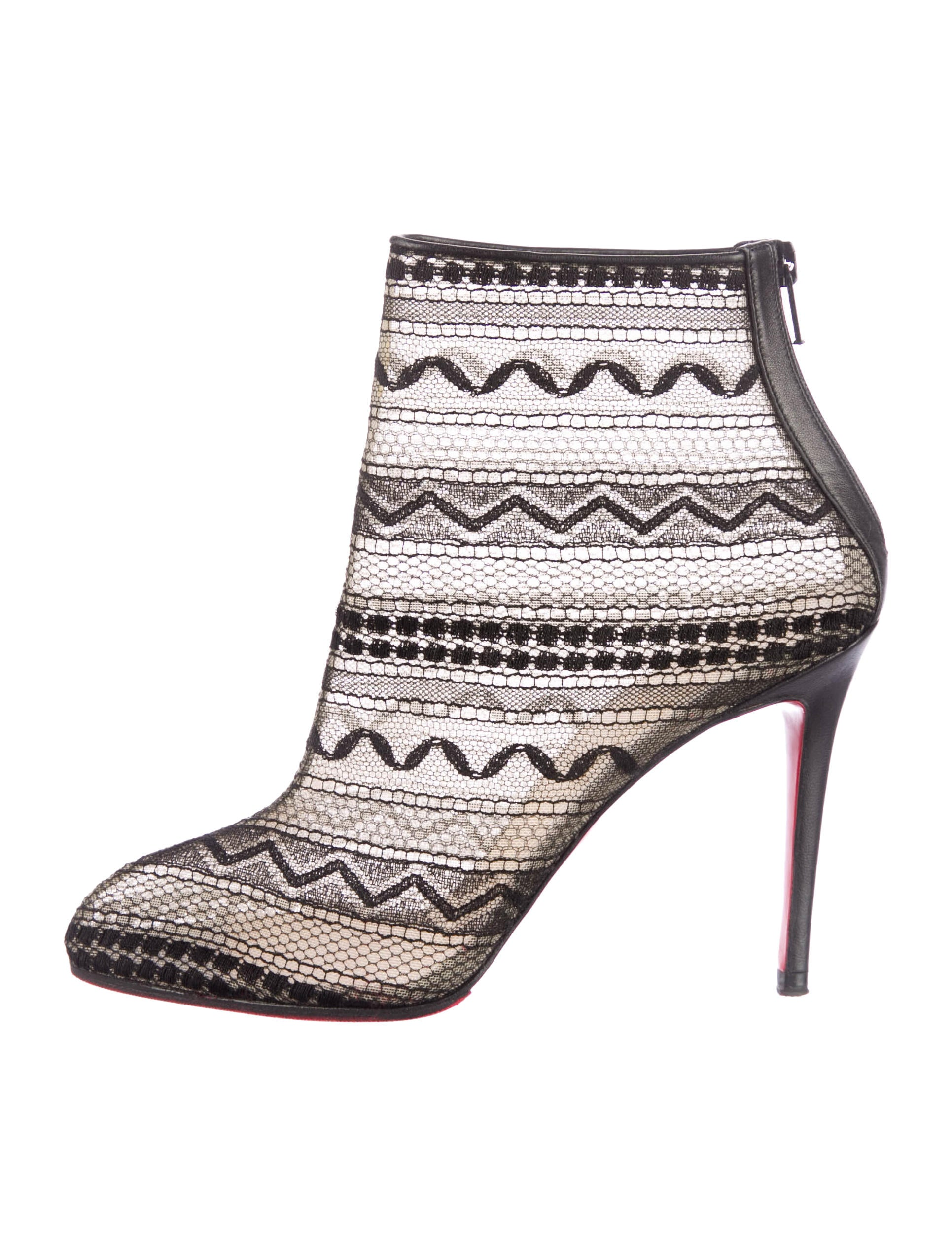 christian louboutin Paola Booty mesh ankle boots Black pointed ...