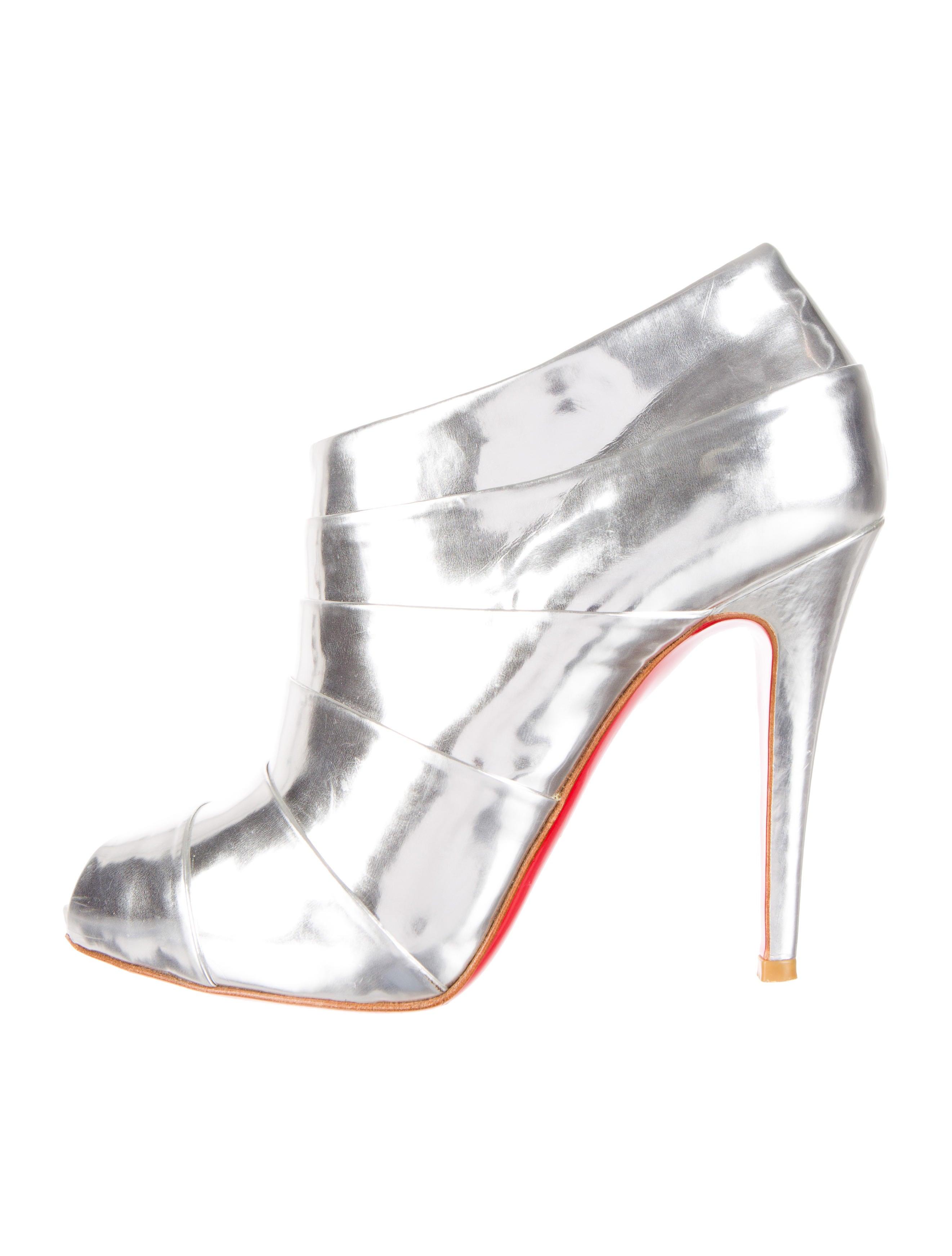 christian louboutin Armadillo booties Silver mirrored leather peep ...