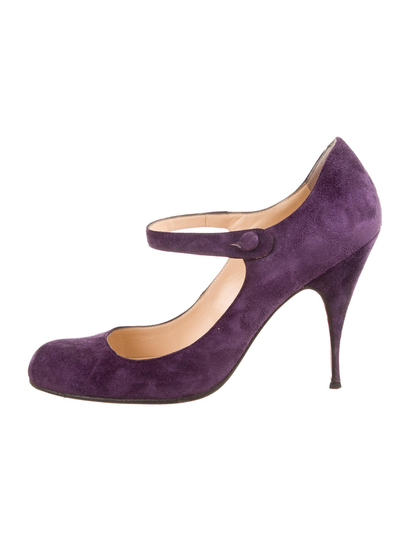 christian louboutin round-roe Mary-Jane pumps Purple suede covered ...
