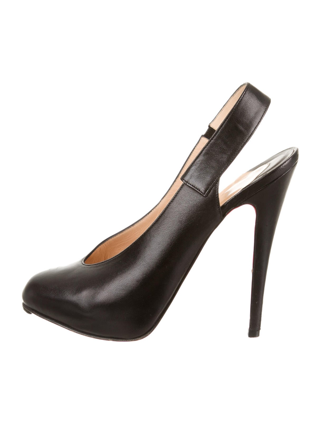 fake replica shoes - Artesur ? christian louboutin round-toe slingback pumps Black leather