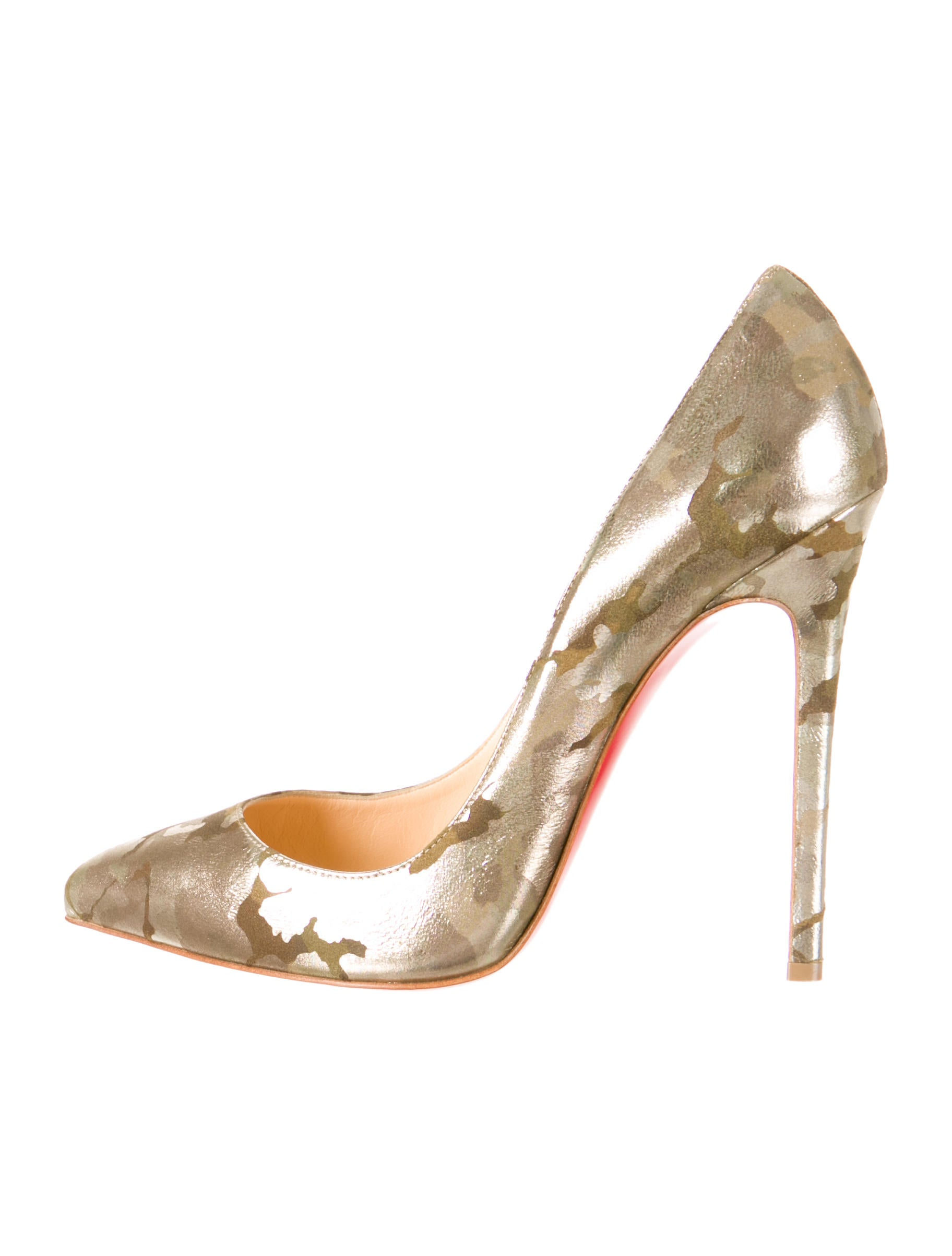 christian louboutin Pigalle metallic camouflage print leather and ...