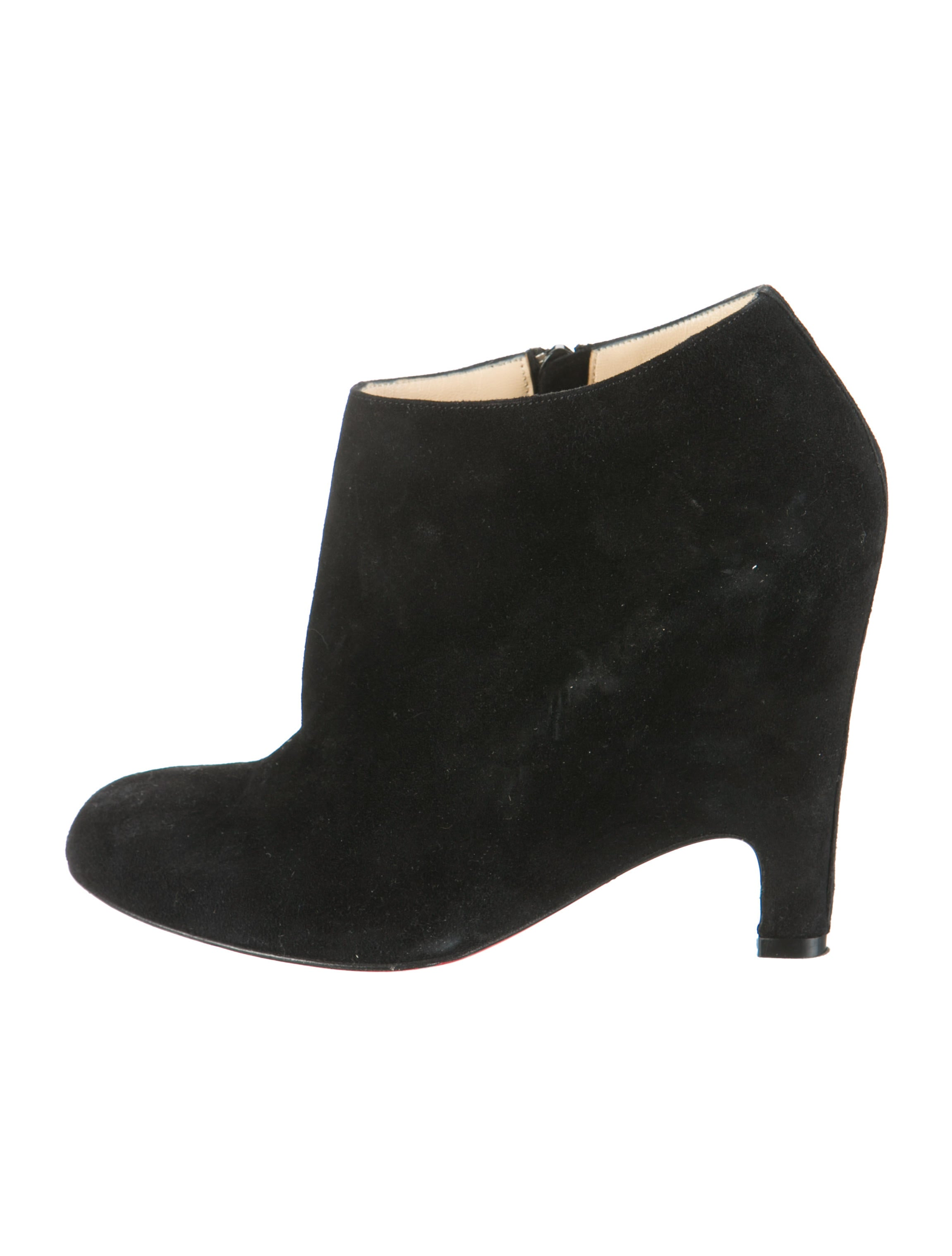fake louboutins for sale - christian louboutin semi pointed-toe booties Black suede covered ...