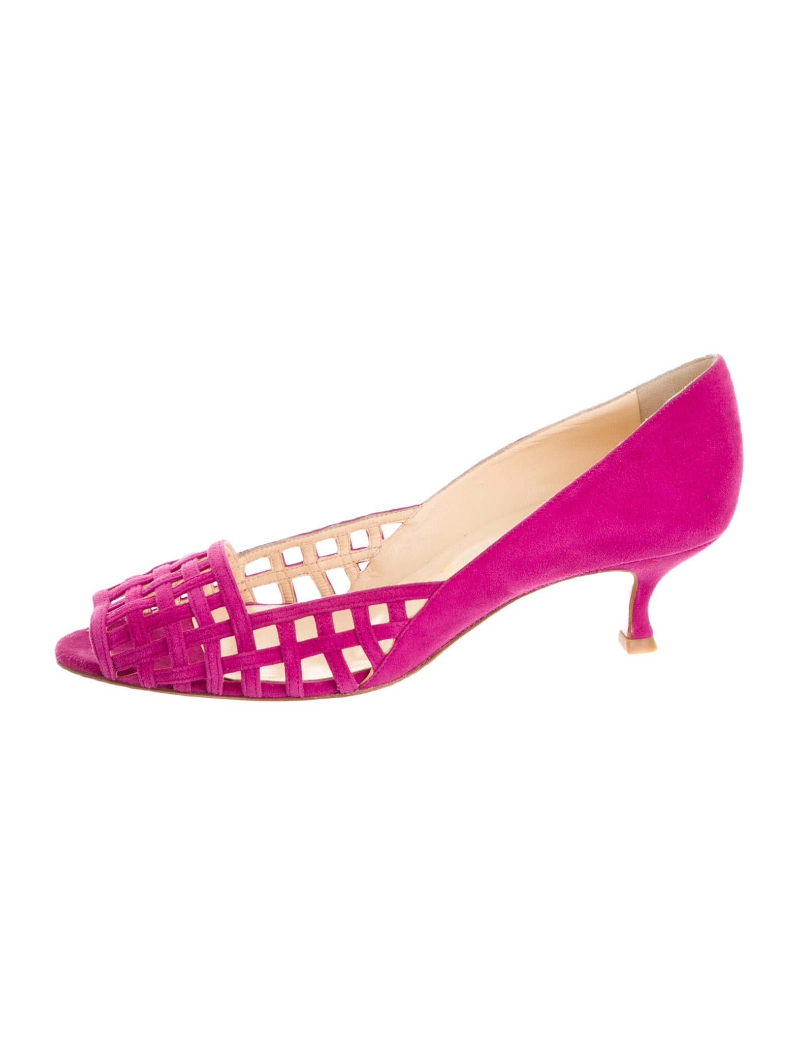 red bottom sneakers for men - christian louboutin peep-toe pumps Magenta suede cutouts | The ...