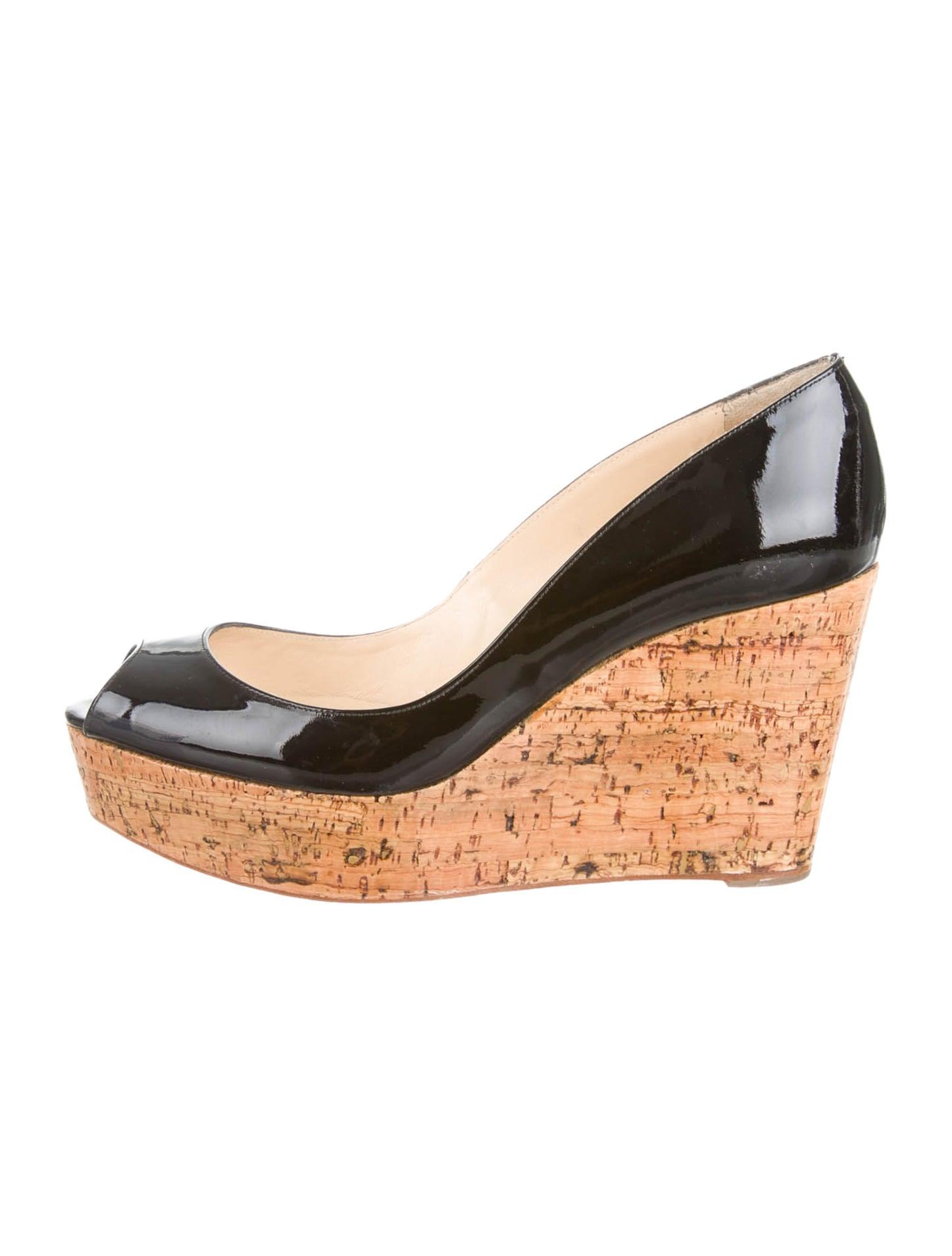 christian louboutin replicas - christian louboutin peep-toe wedges Black leather cork covered ...