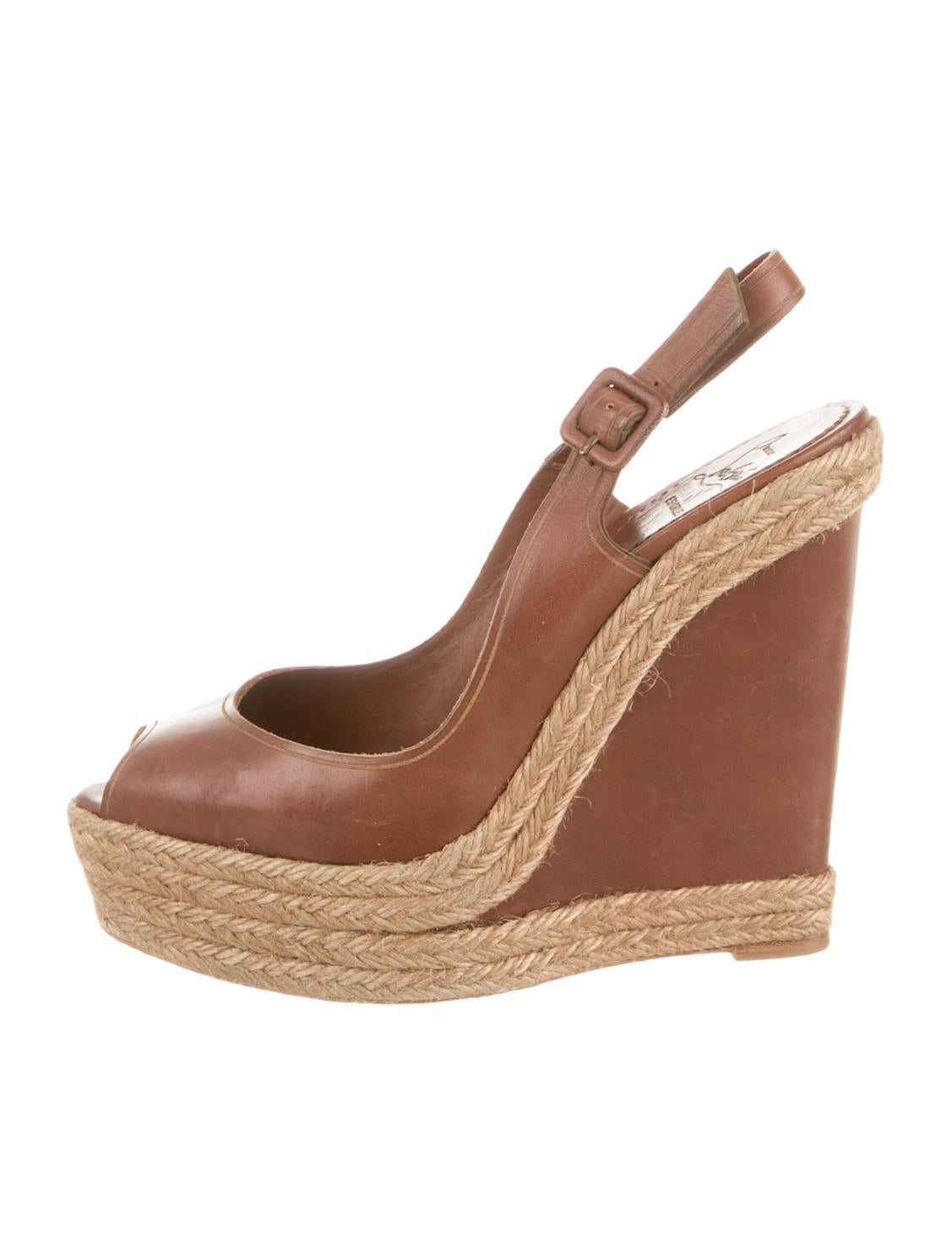 christian louboutin shoes on sale - christian louboutin peep-toe wedges Brown leather - Bbridges