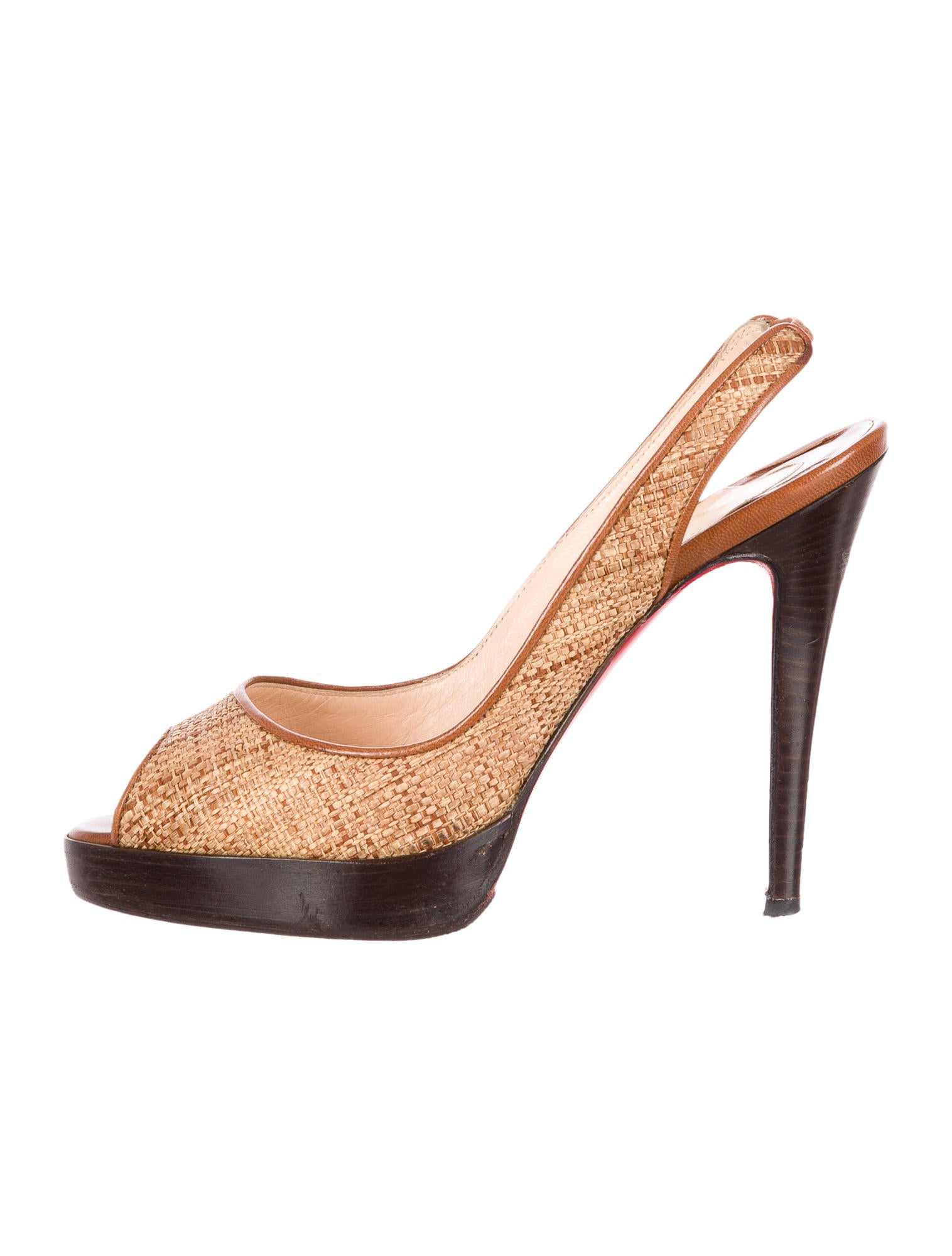 replica shoes christian louboutin - christian louboutin peep-toe slingback sandals Brown straw elastic ...