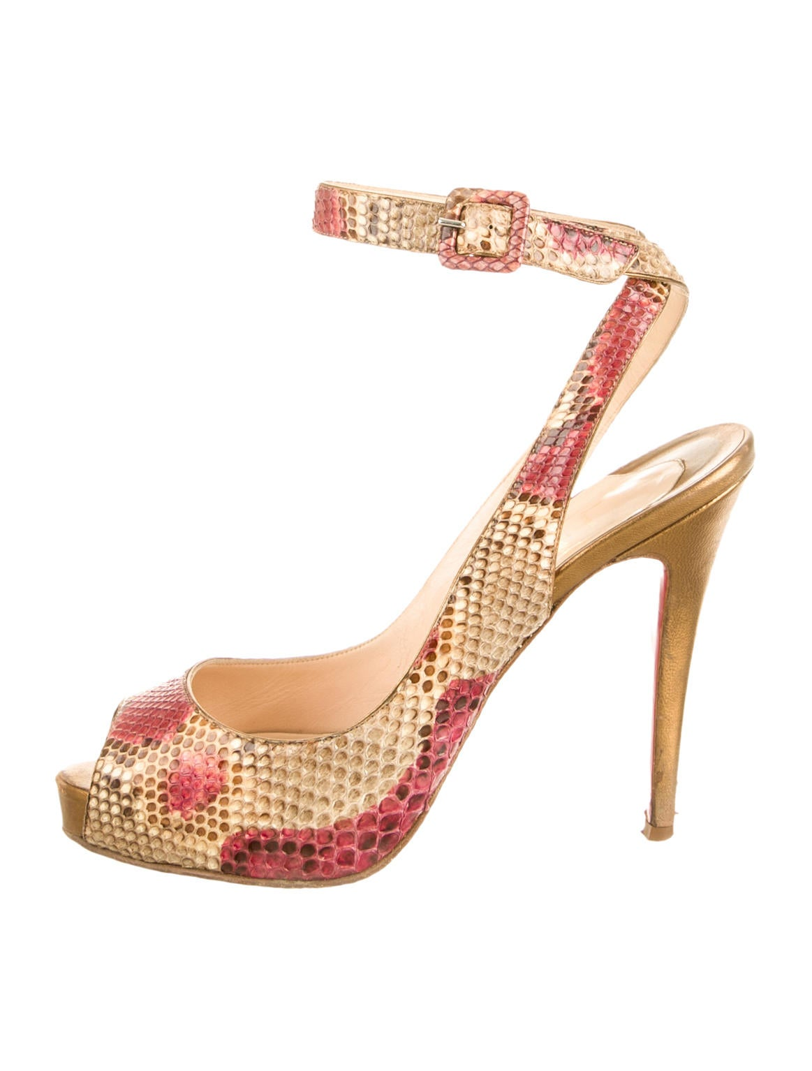 christian louboutin snakeskin peep-toe pumps Brown and metallic ...