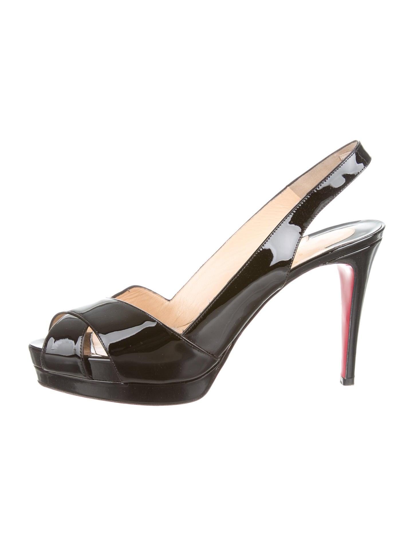 82a33b716689 christian louboutin peep-toe slingback pumps Black patent leather semi  concealed platforms