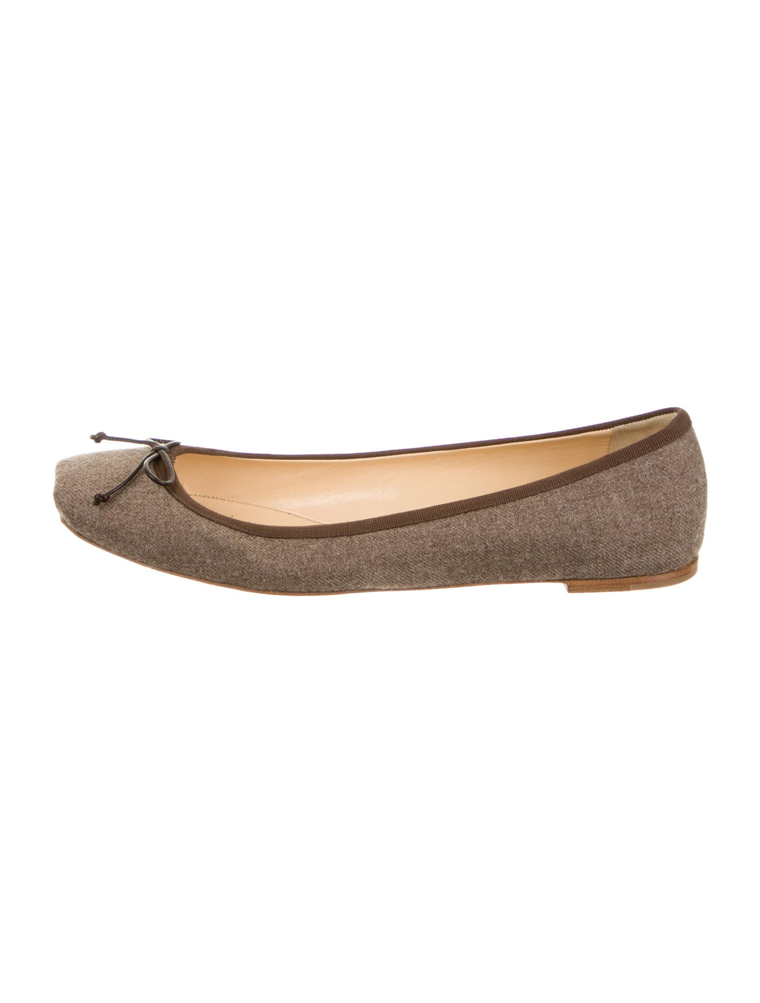 christian louboutin square-toe flats Brown wool bow accent | The ...