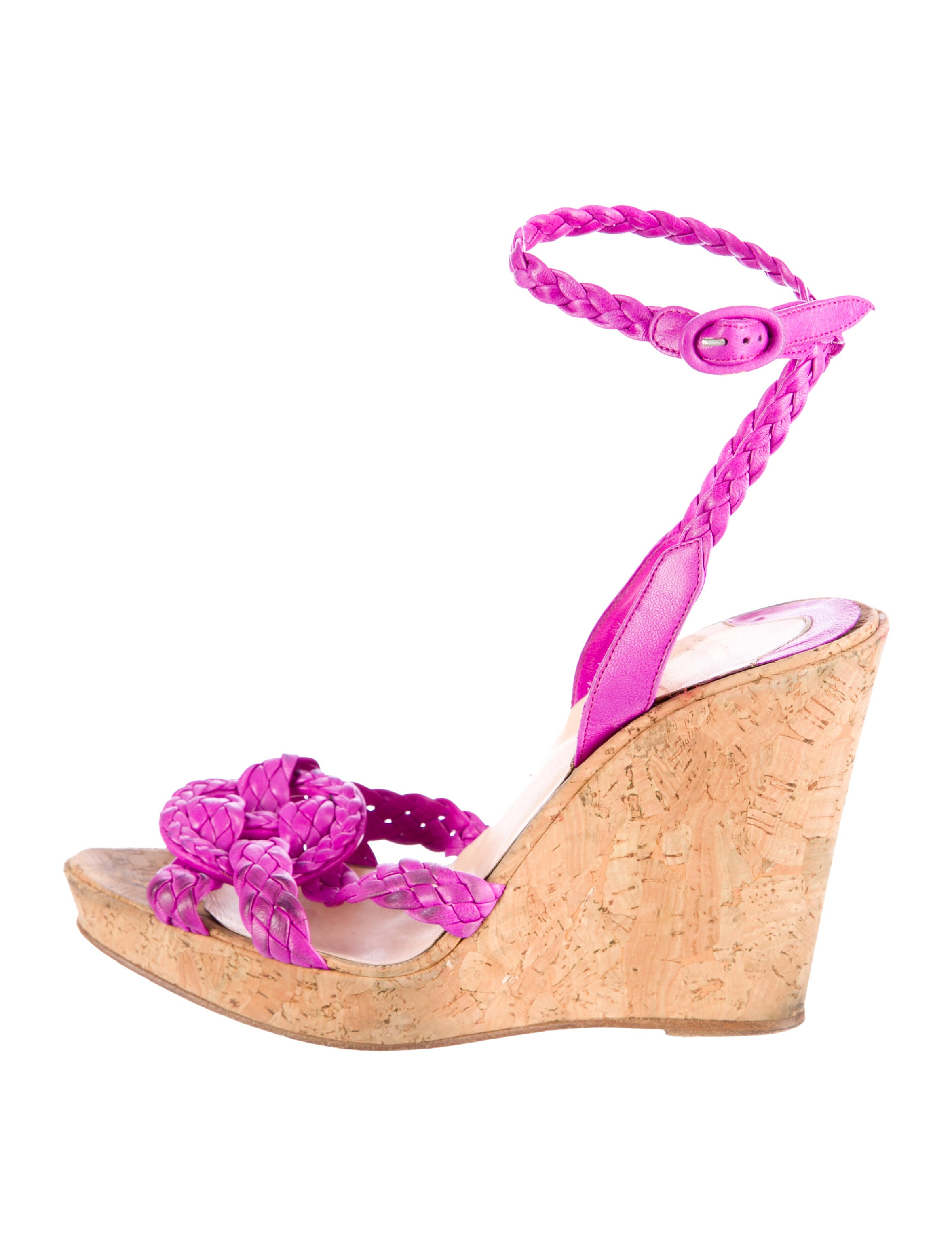 replica christian louboutin shoes - christian louboutin wedges Purple braided leather crossover straps ...