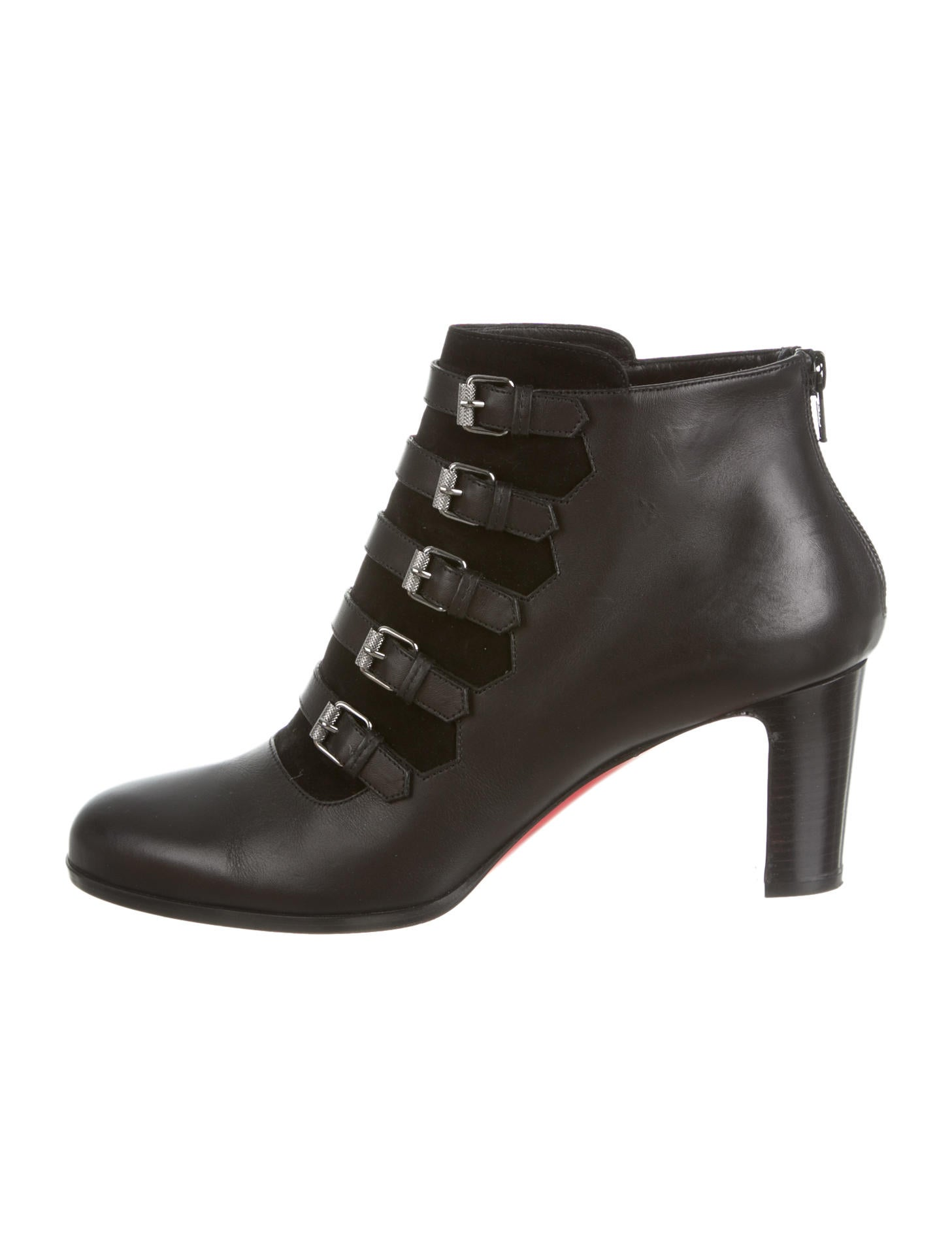 christian louboutin semi-pointed toe ankle boots Black leather ...