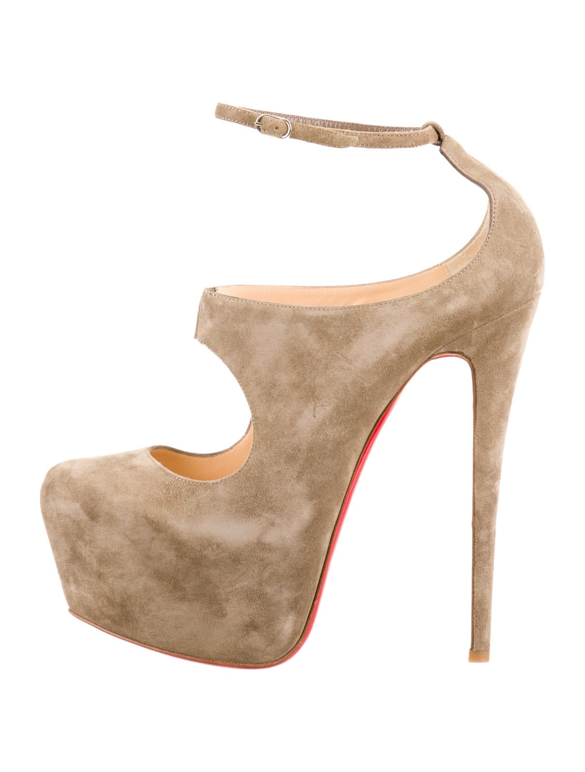 christian louboutin pointed-toe booties Taupe suede | The Little ...
