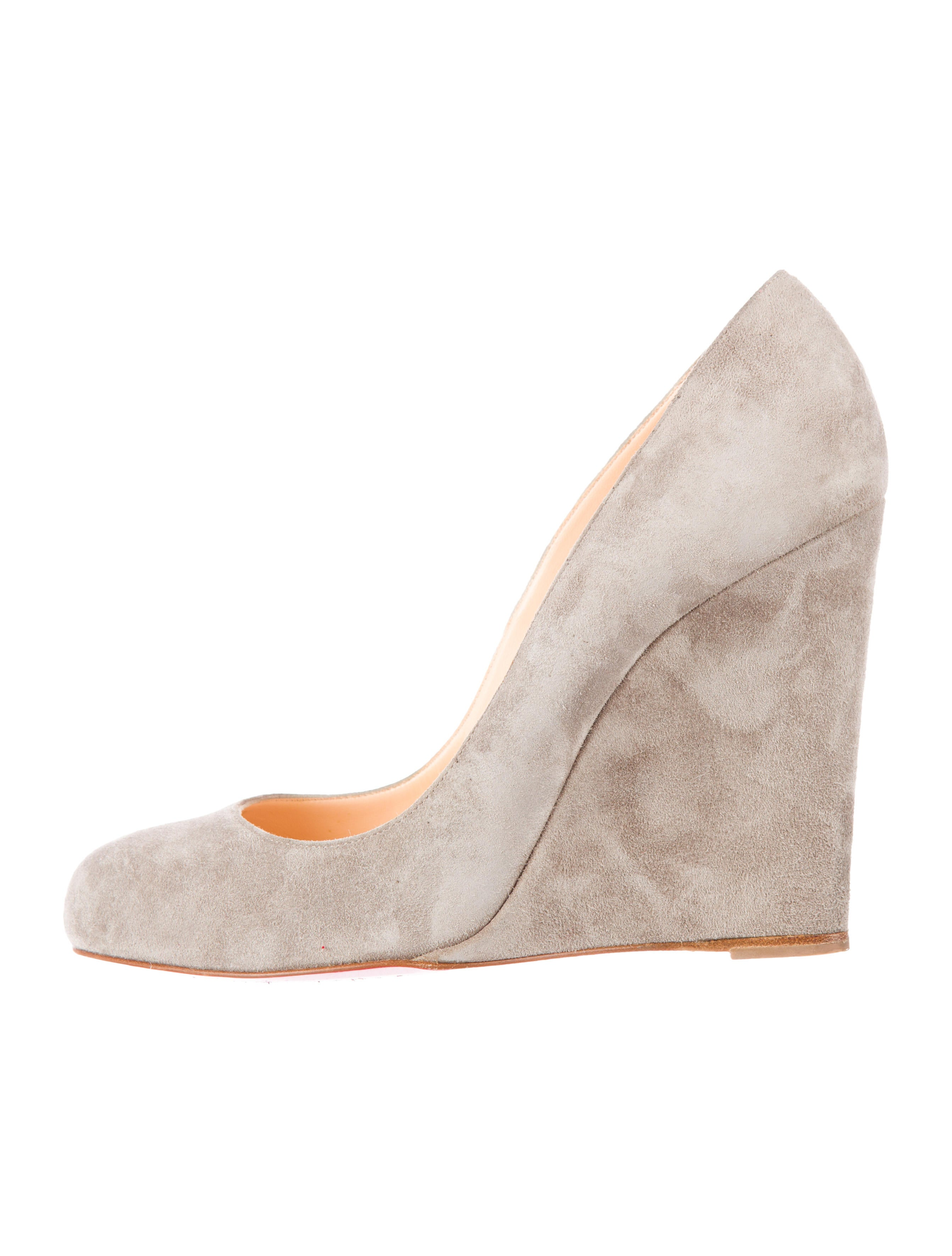 usa replica shoes - Artesur ? christian louboutin round-toe wedges Grey suede covered ...