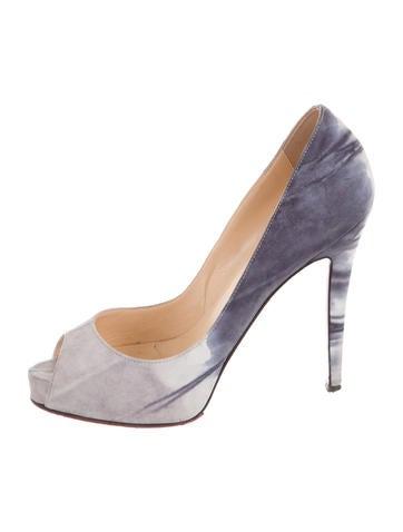 usa replica shoes - christian louboutin round-toe metallic platforms pumps Pewter ...