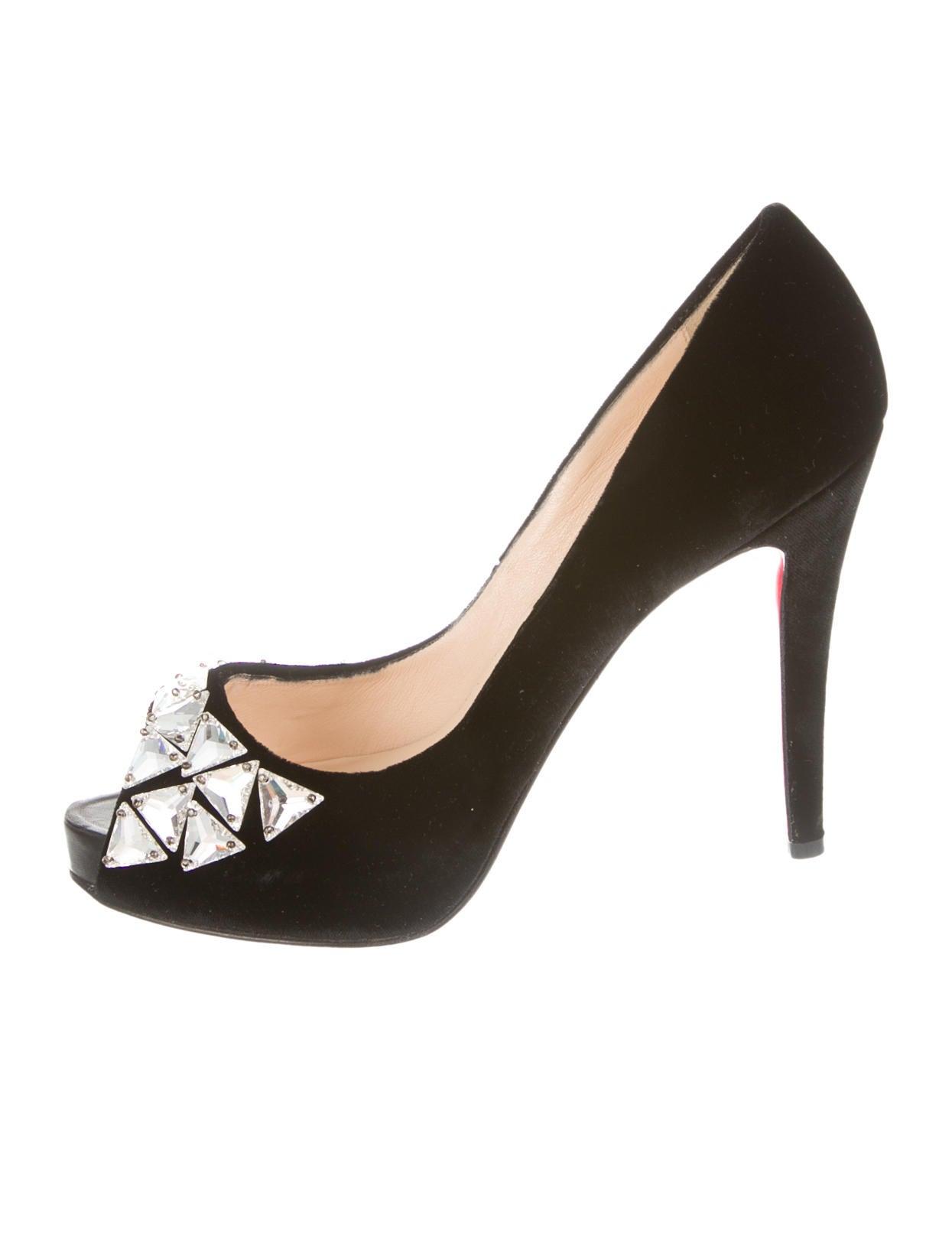 christian louboutin velvet peep-toe pumps Black jeweled adornments ...