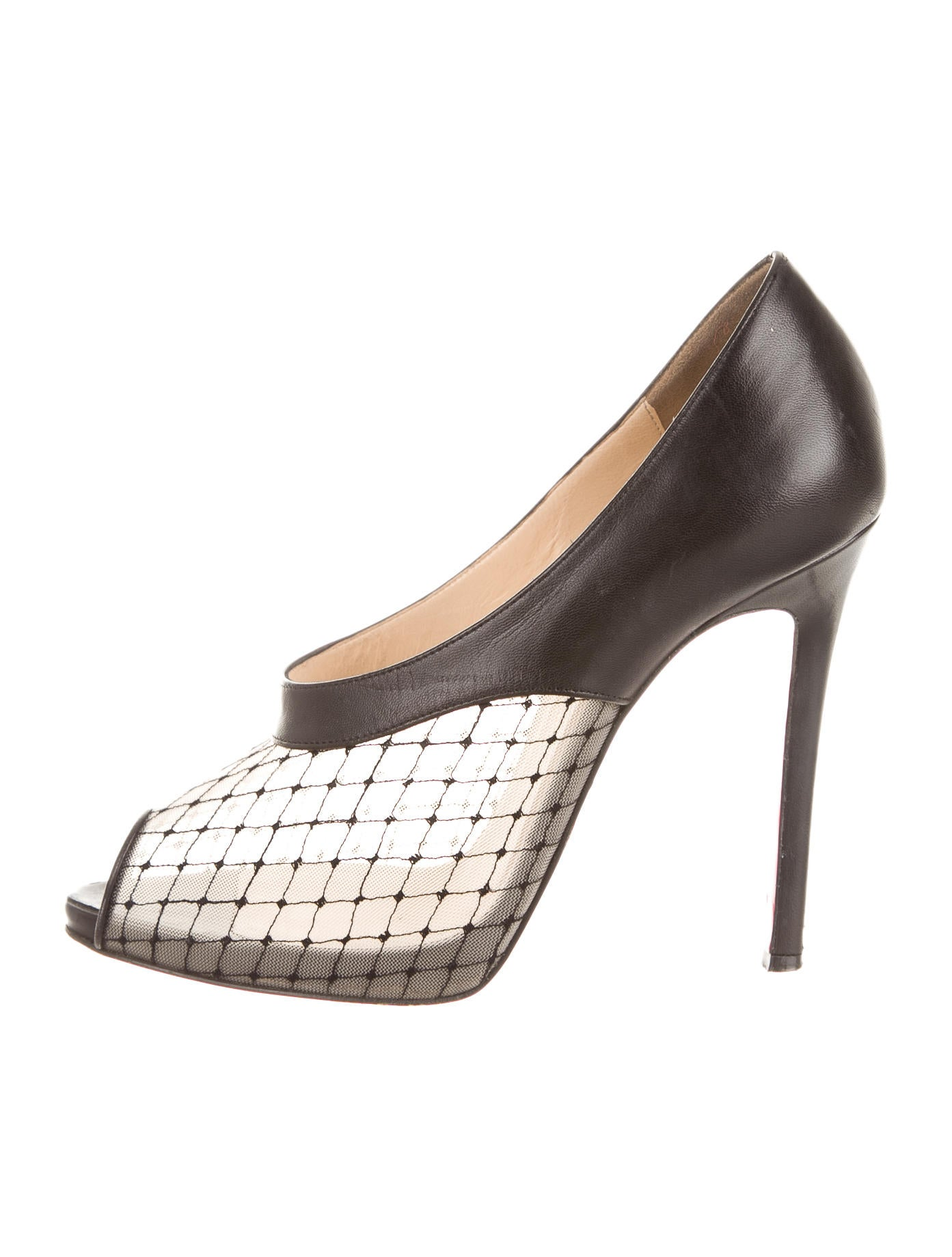 christian louboutin peep-toe booties Black leather mesh accent ...