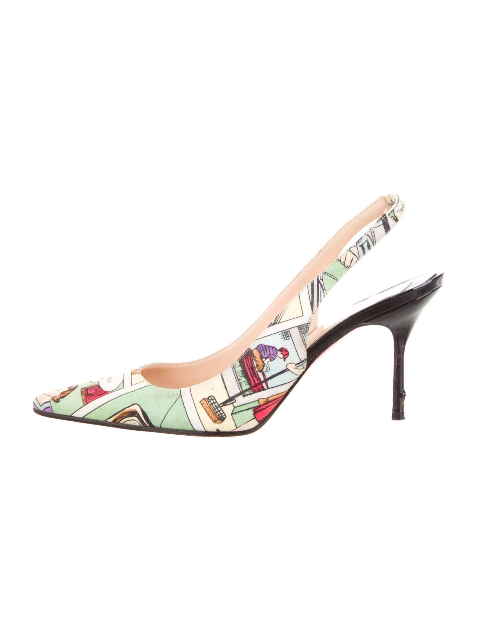 christian louboutin comic strip pointed-toe pumps Multicolor ...