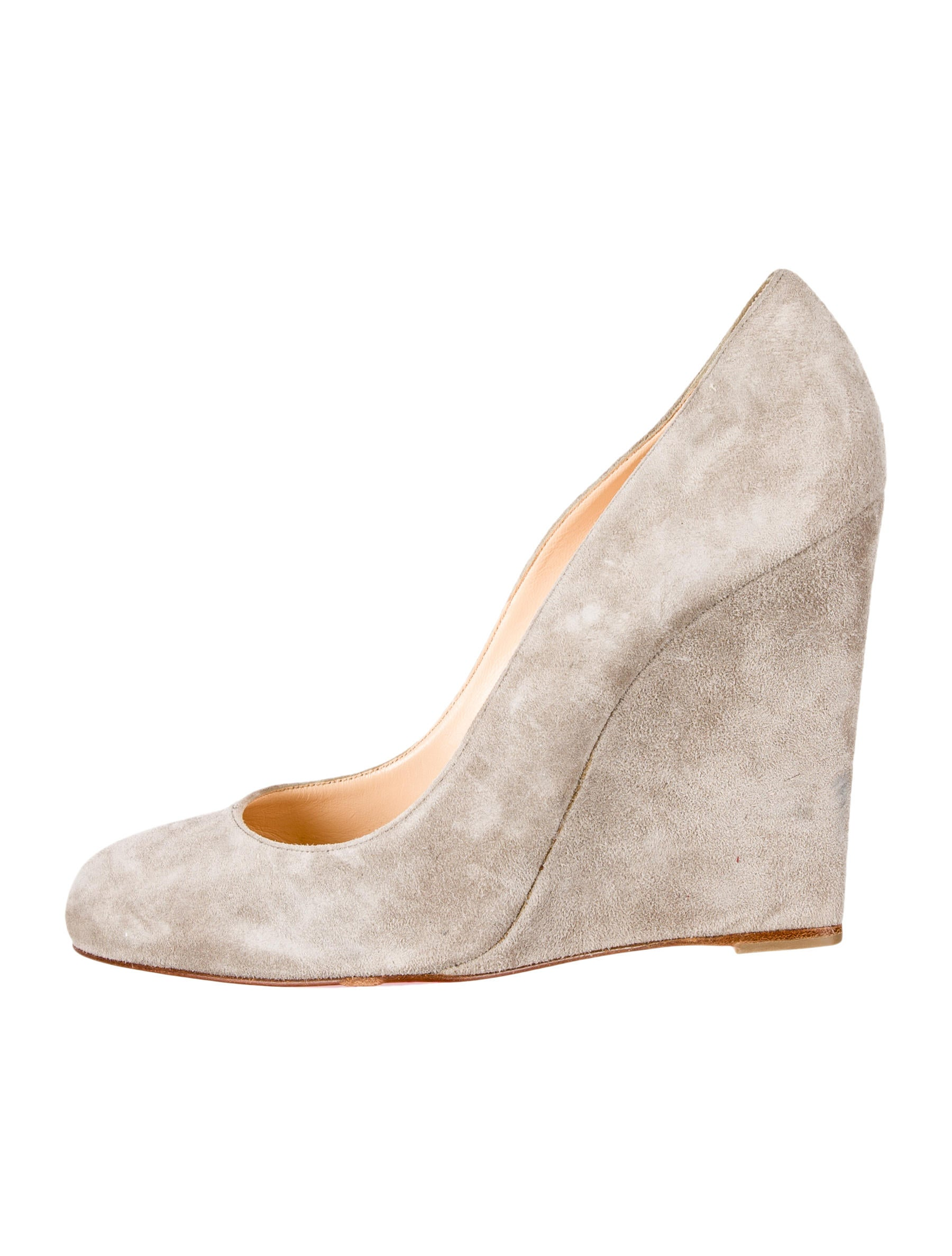 christian louboutin round-toe wedges Grey suede covered wedges ...
