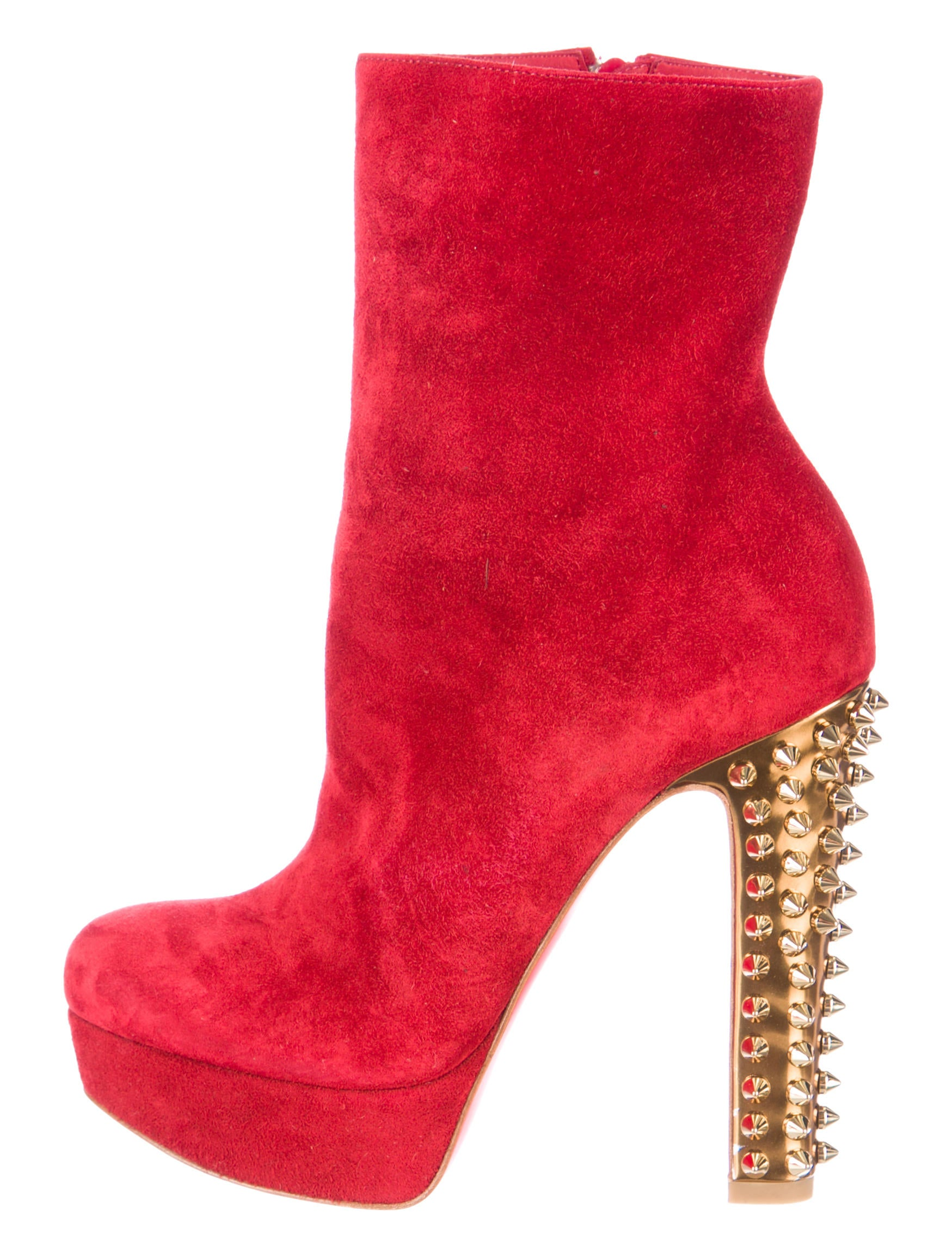 louboutin shoes - Artesur ? christian louboutin round-toe ankle boots Red suede gold ...