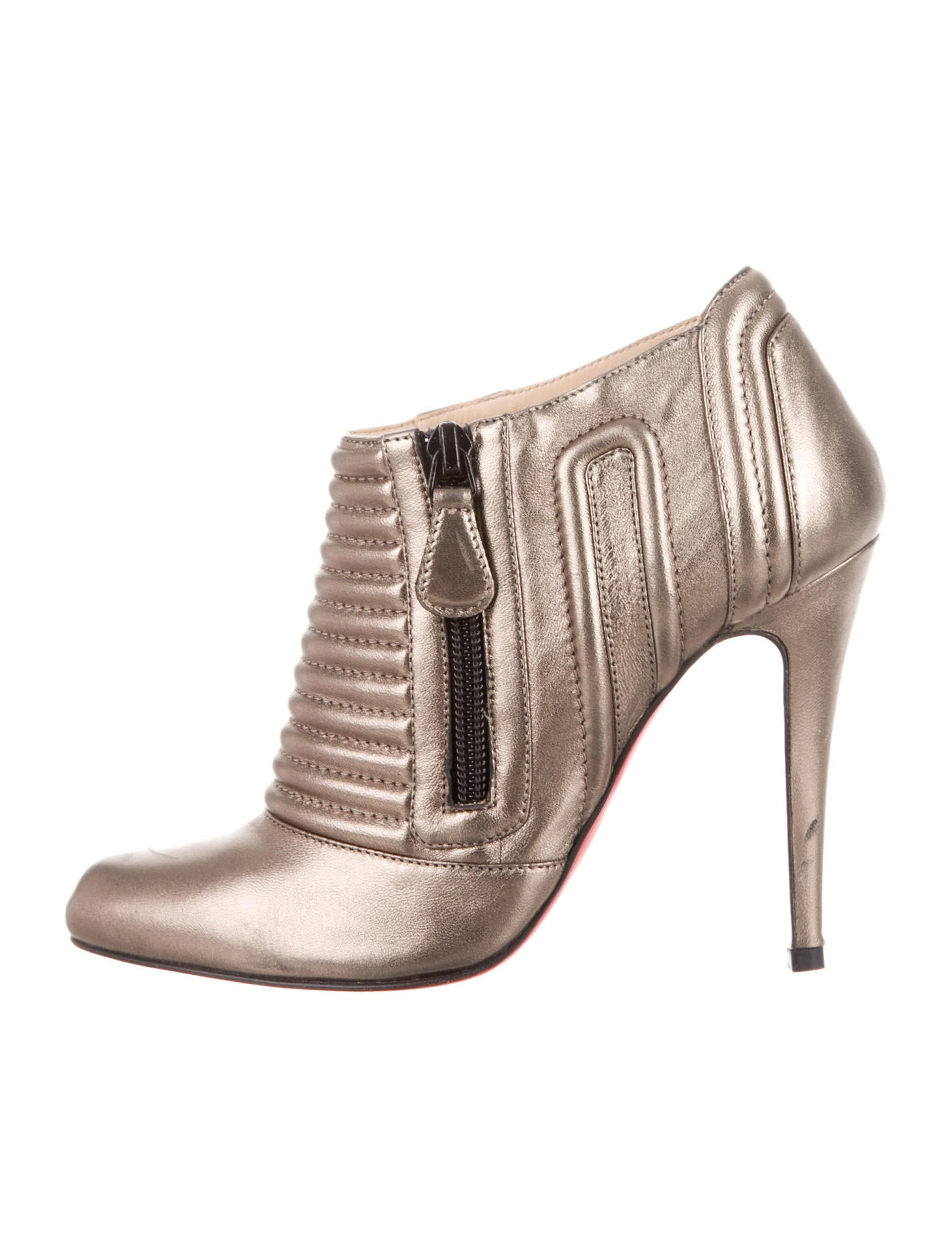 christian louboutin booties Gold-tone metallic leather | The ...