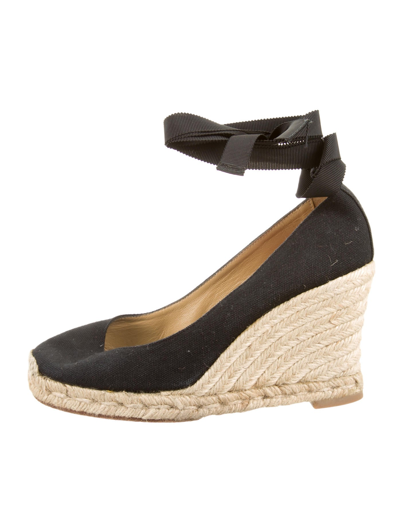 christian louboutin satin espadrille wedges Black round toes | The ...