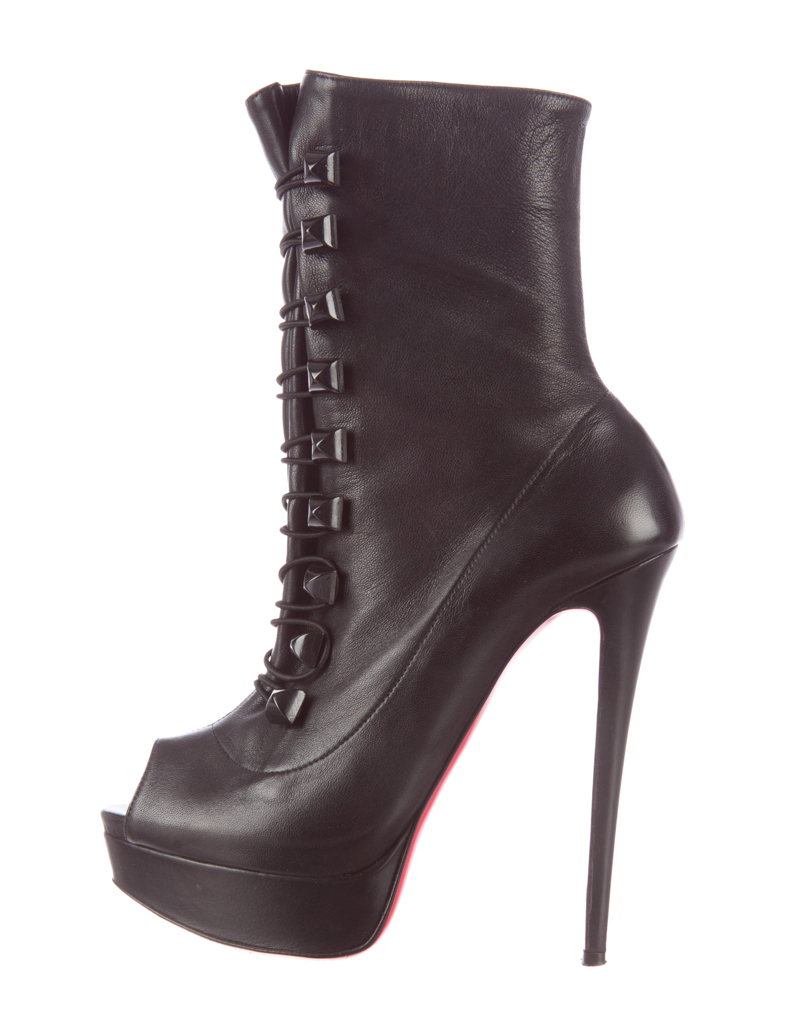 Artesur ? christian louboutin Black leather peep-toe ankle boots ...