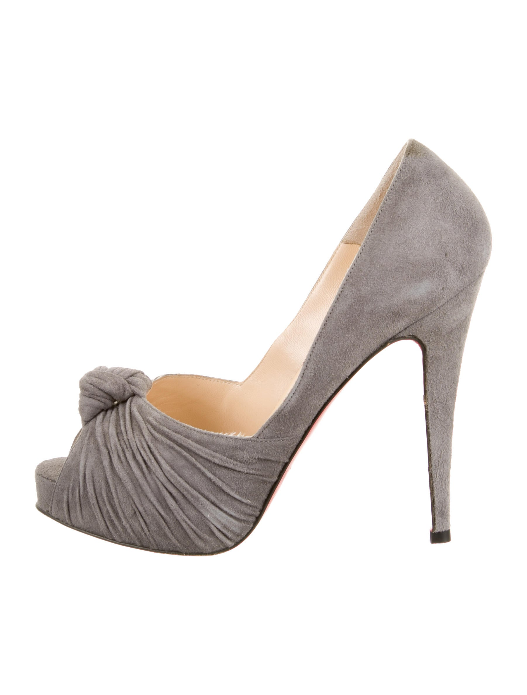 49aa7fe2fd ... purchase christian louboutin peep toe pumps grey suede knot accent  80448 592c8