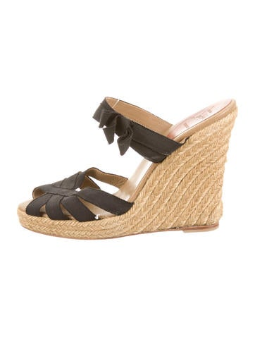 christian louboutin espadrille wedges Yellow grosgrain jute ...