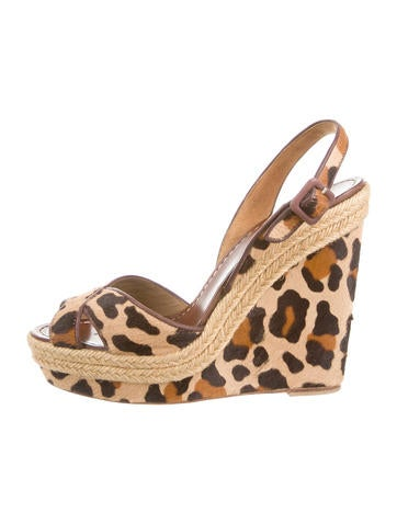 louboutin studded mens shoes - christian louboutin slide sandals Brown suede jute wedge heels ...