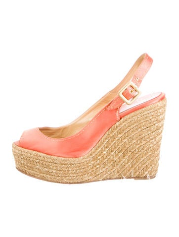 christian louboutin wedges Beige woven jute burgundy suede straps ...