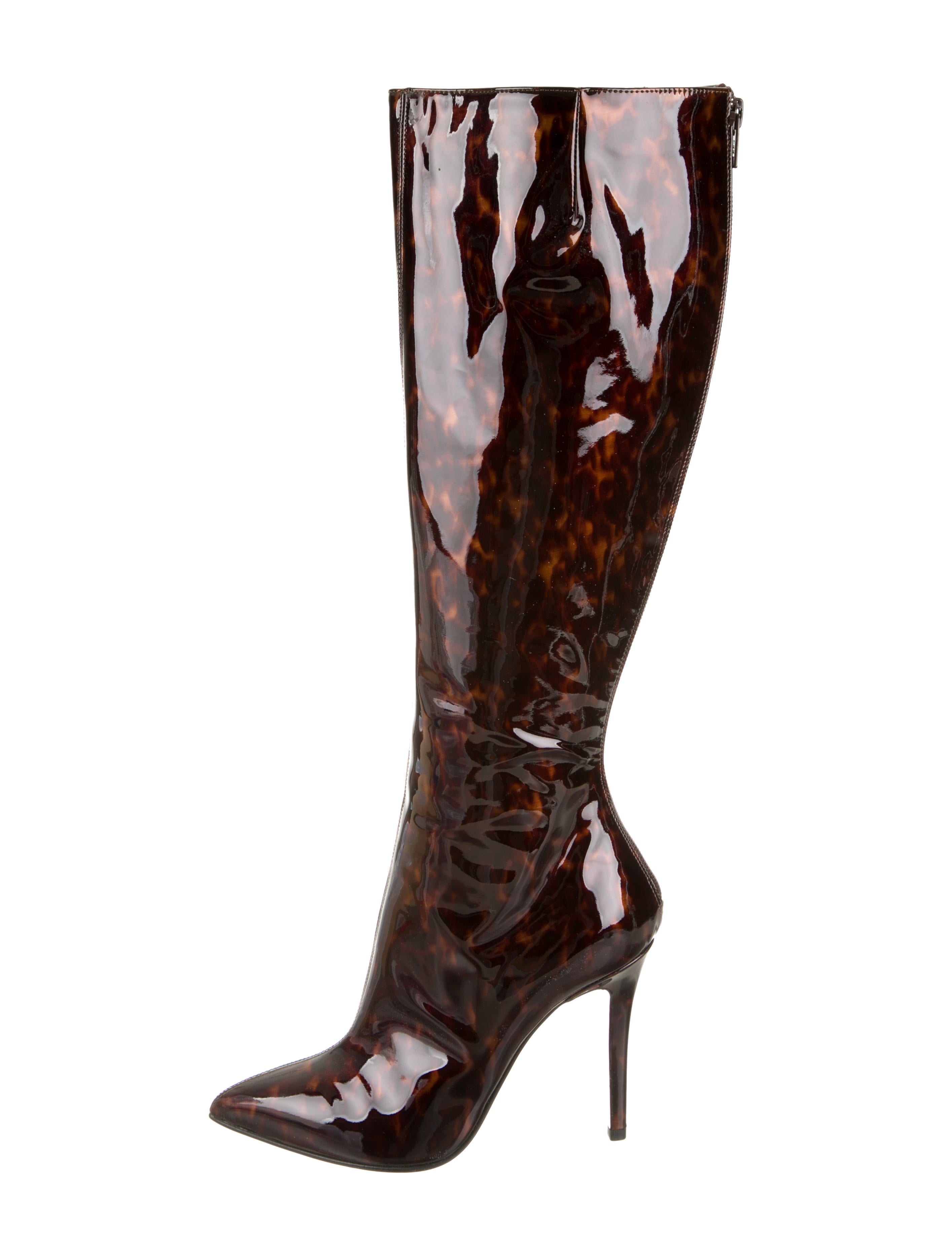 Christian Louboutin Patent Leather Pointed-Toe Boots - Shoes ...