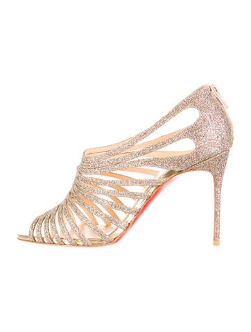 christian louboutin round-toe sandals Creme and brown snakeskin ...