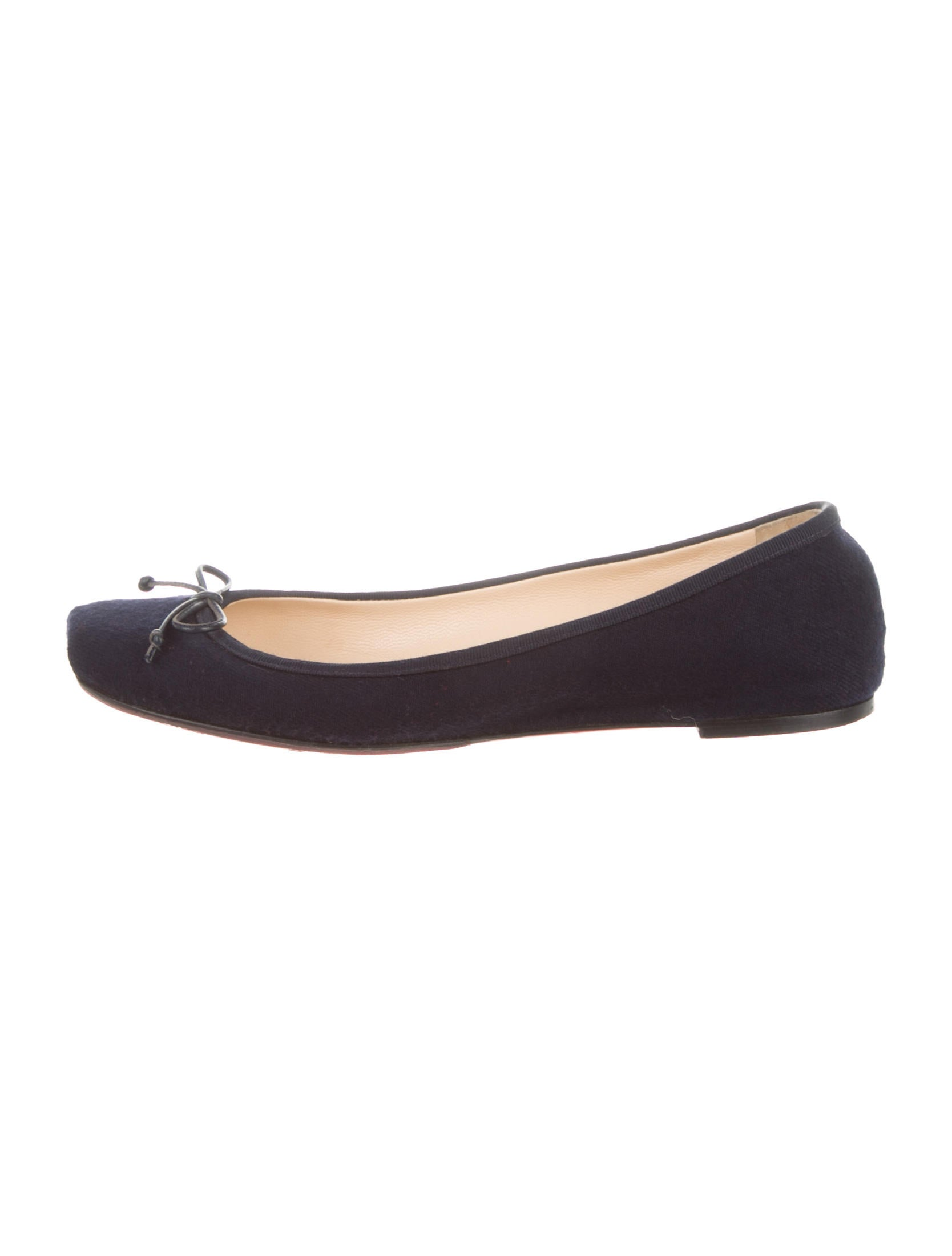 Christian Louboutin Square-Toe Wool Flats - Shoes - CHT39129   The ...