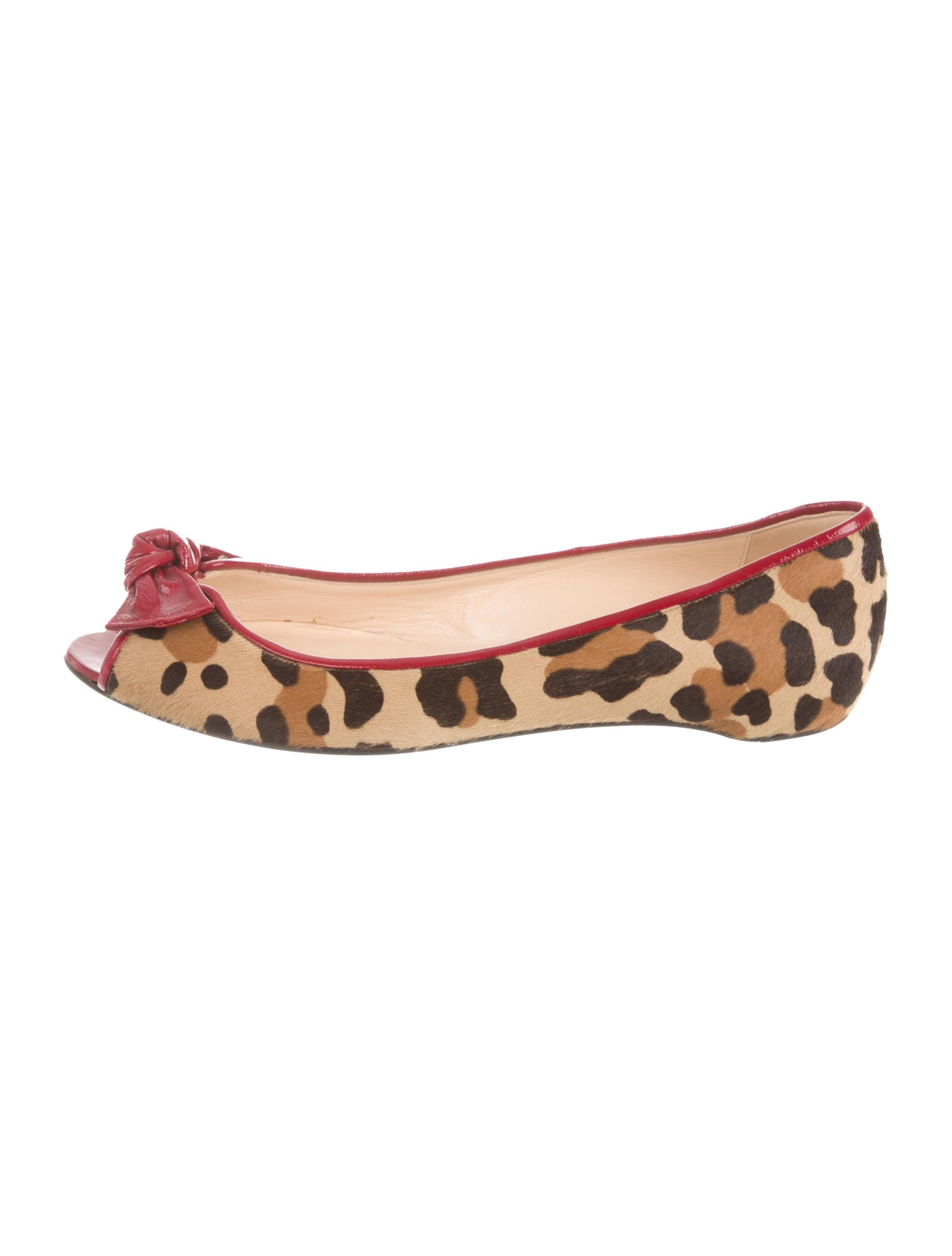 Christian Louboutin Ponyhair Peep-Toe Flats - Shoes - CHT42774 ...