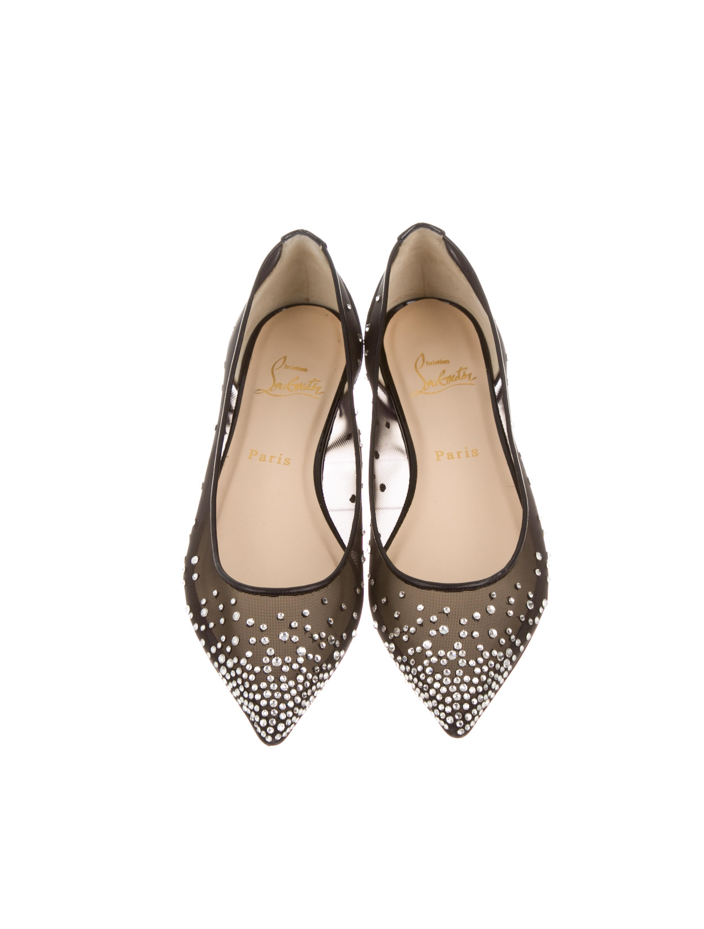 Christian Louboutin Body Strass Pointed-Toe Flats - Shoes ...