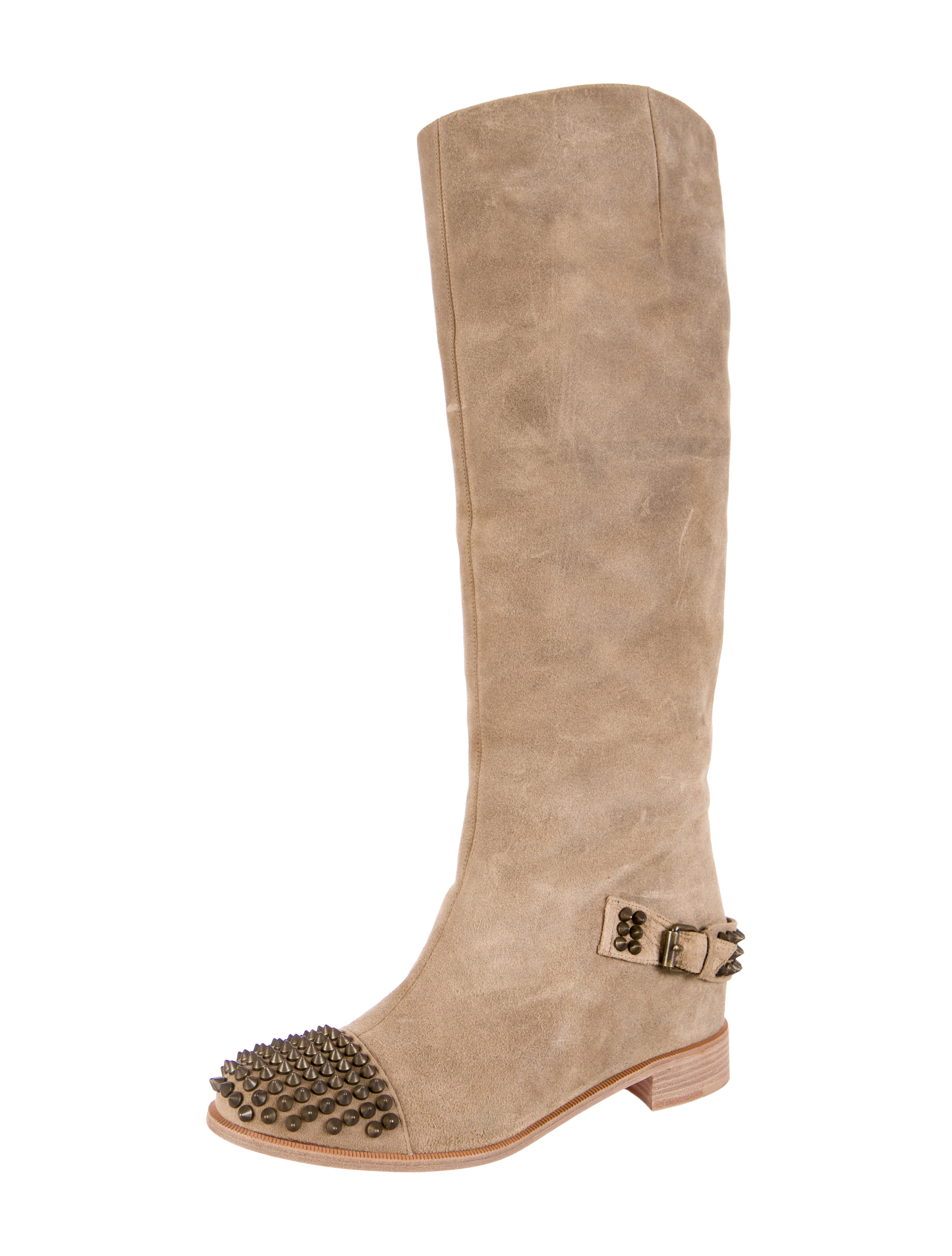 pretty nice 86198 76104 christian louboutin eqoutina flat spike boots, black spiked ...
