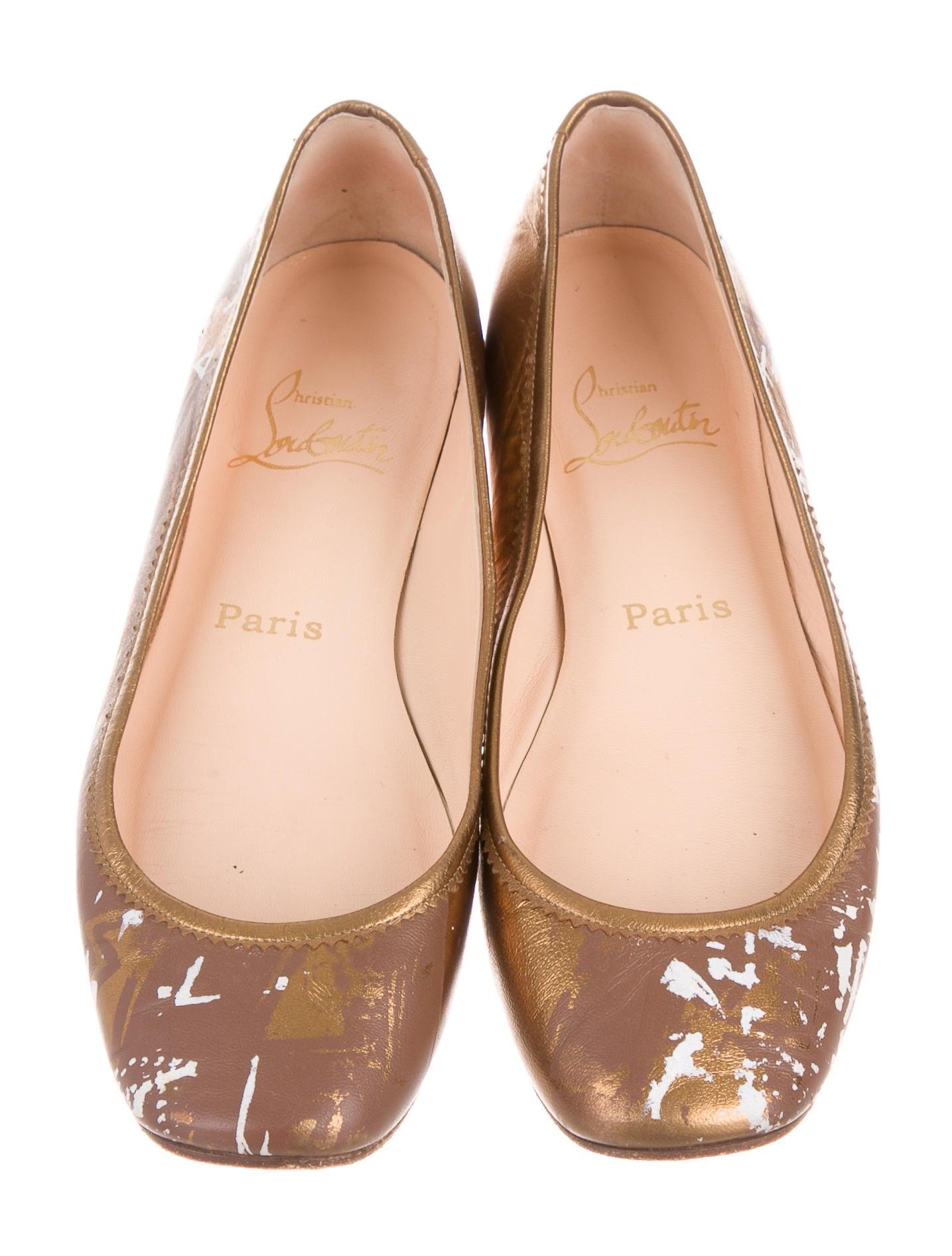 replica louis vuitton mens - christian louboutin metallic round-toe flats, buy replica shoes online