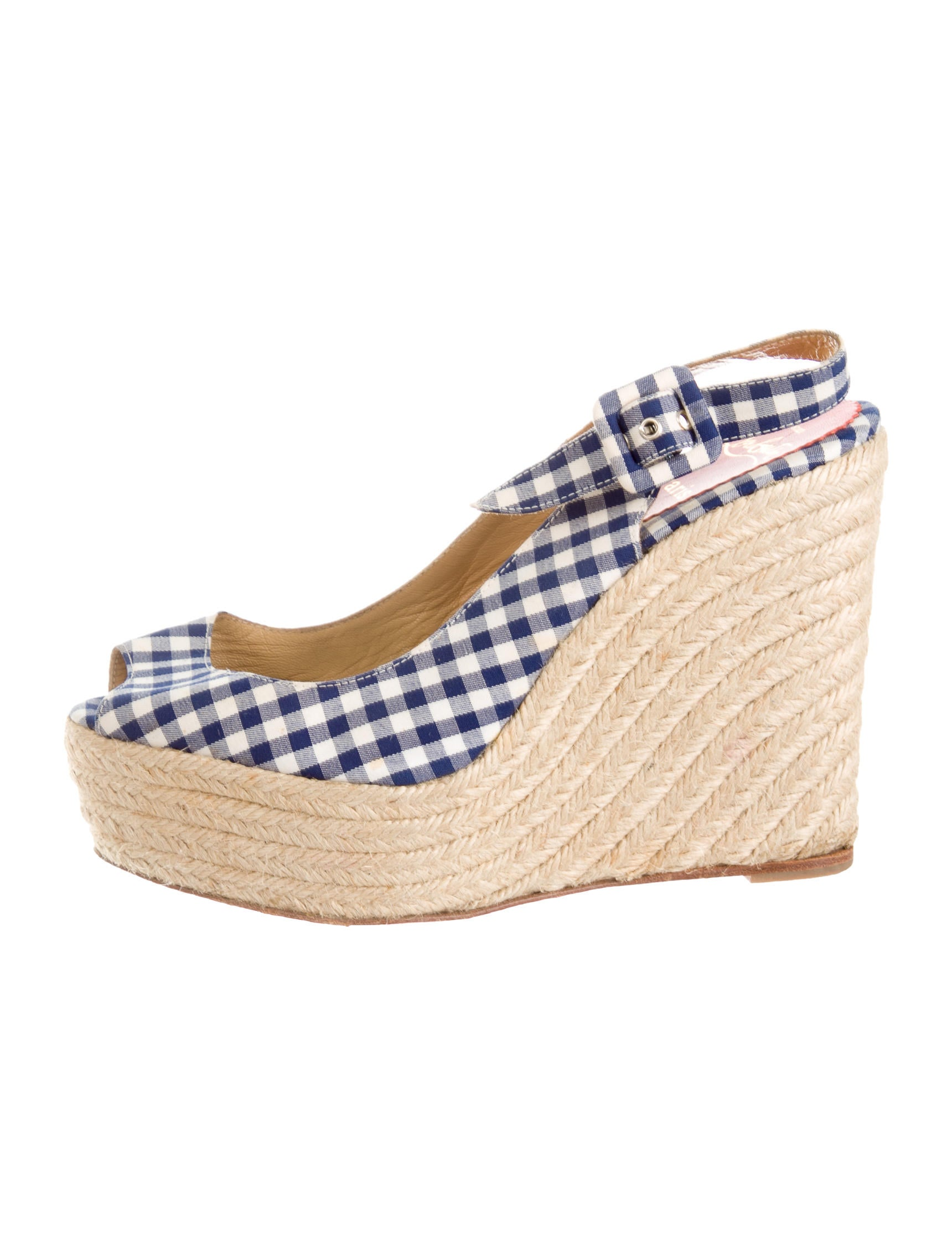 Christian Louboutin Gingham Slingback Wedges - Shoes - CHT43034 ...