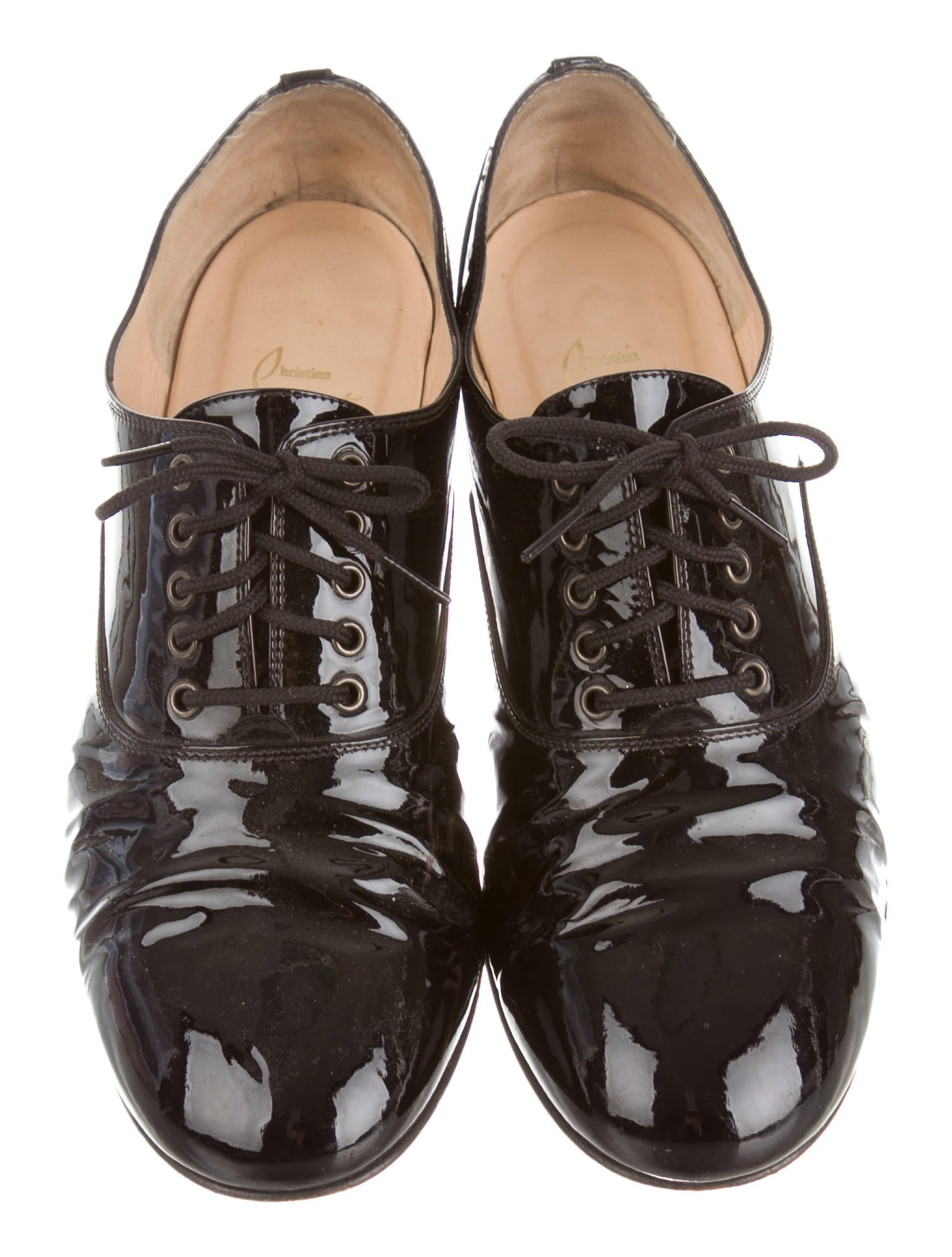 replica slippers - christian louboutin patent leather round-toe oxfords, louis ...