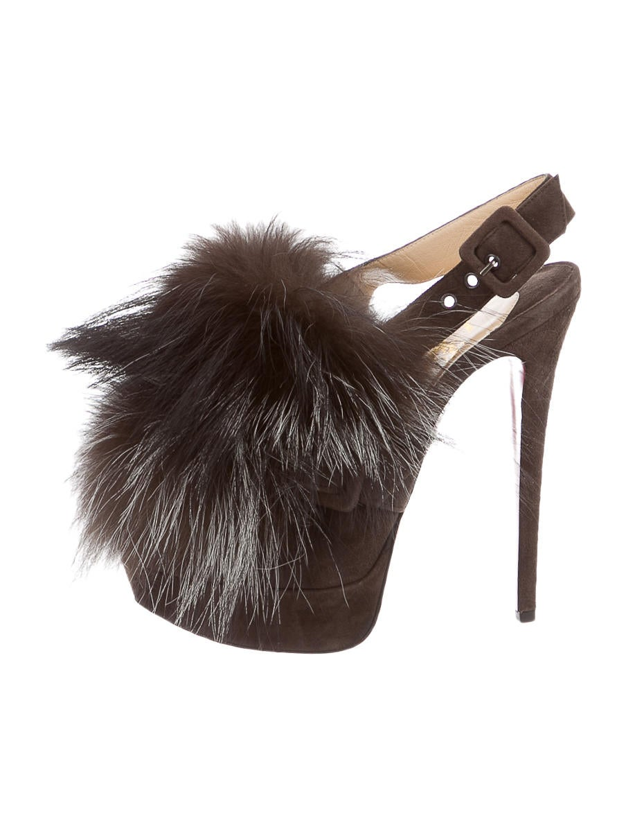 Christian Louboutin Fur-Accented Slingback Booties - Shoes ...